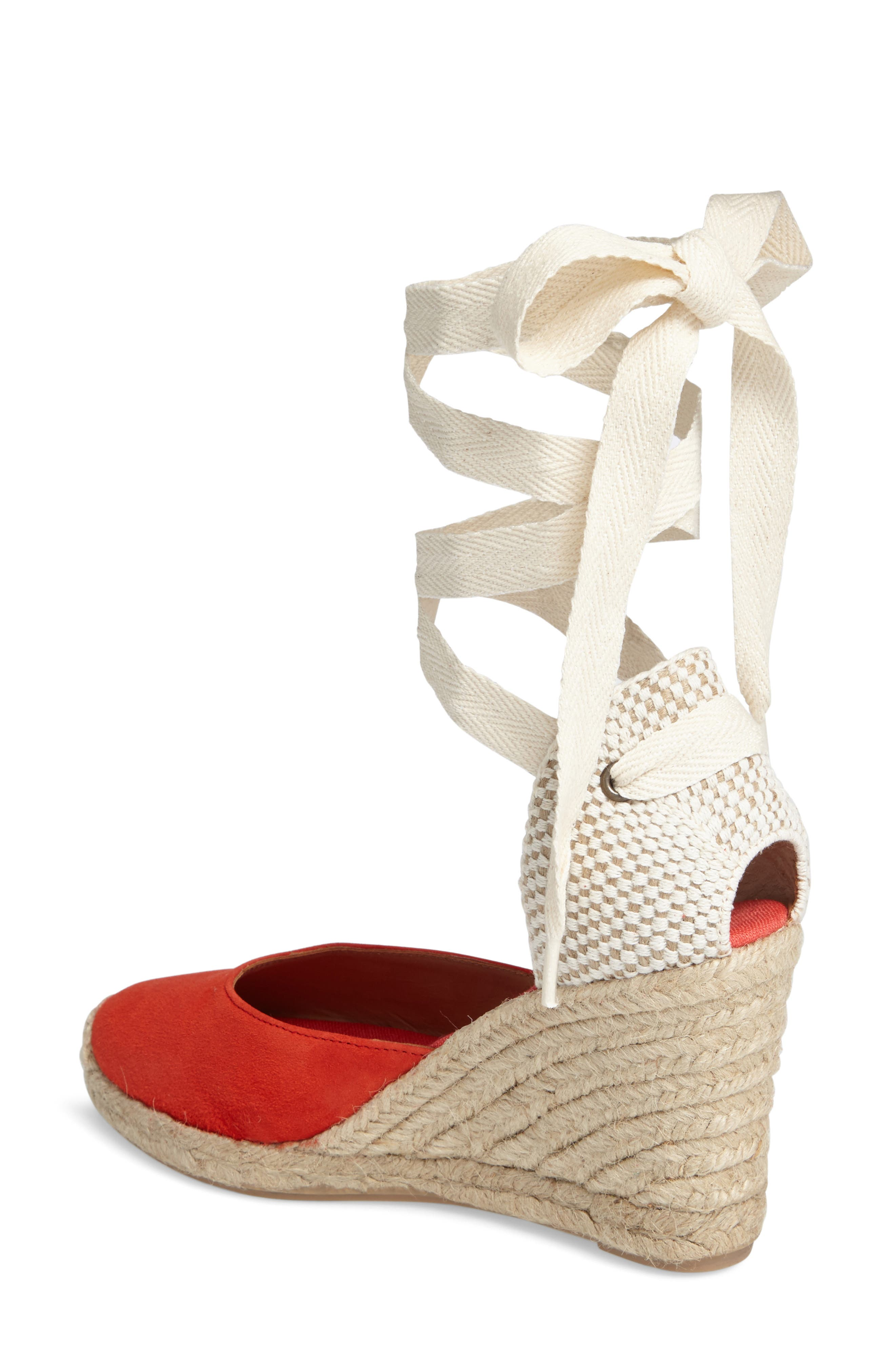 Wedge Sandal,                             Alternate thumbnail 2, color,                             Fire Red Suede