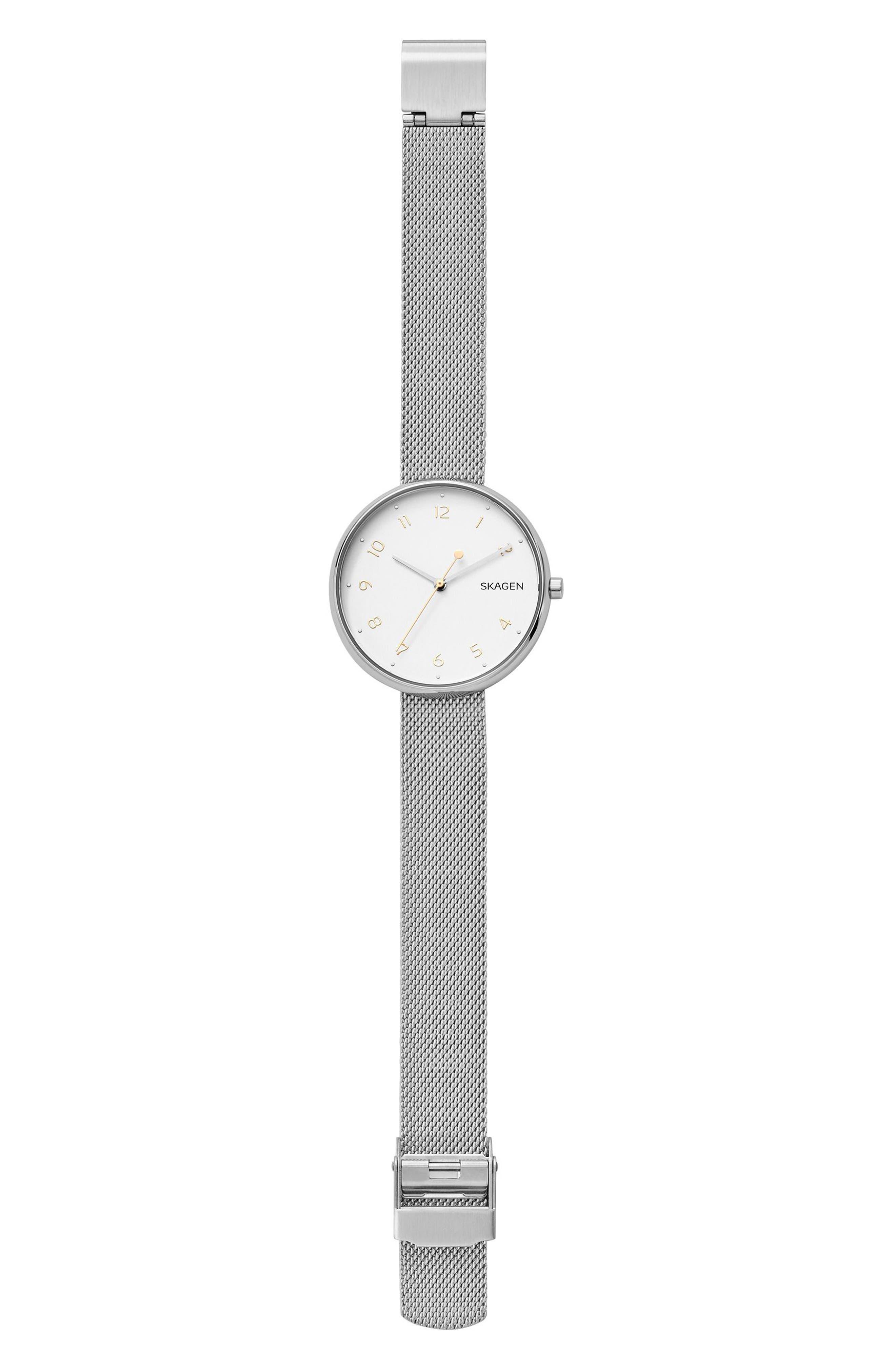 Signatur Mesh Strap Watch, 36mm,                             Alternate thumbnail 2, color,                             Silver/ White/ Silver