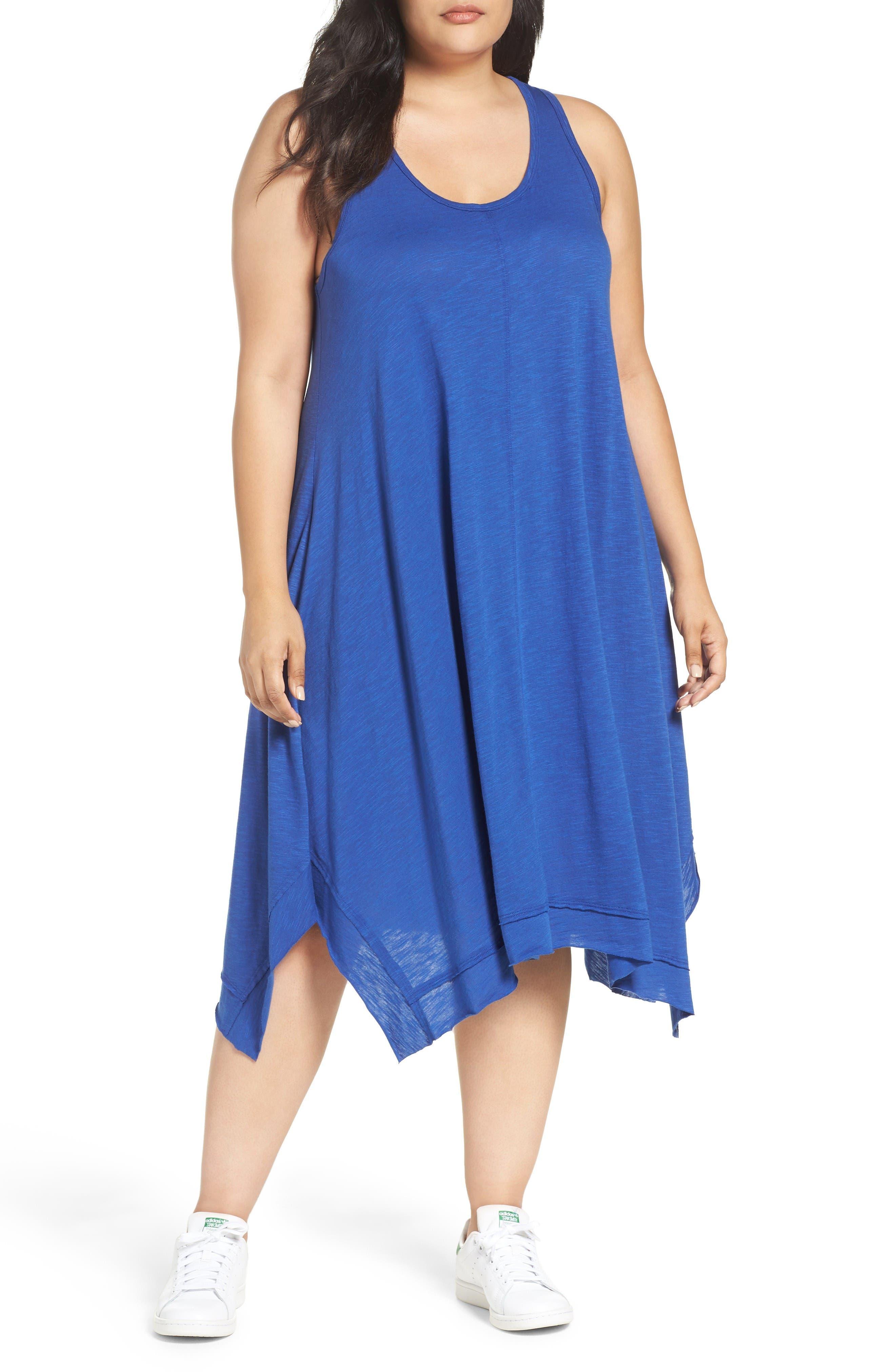 Caslon® Handkerchief Hem Slub Knit Tank Dress (Plus Size)
