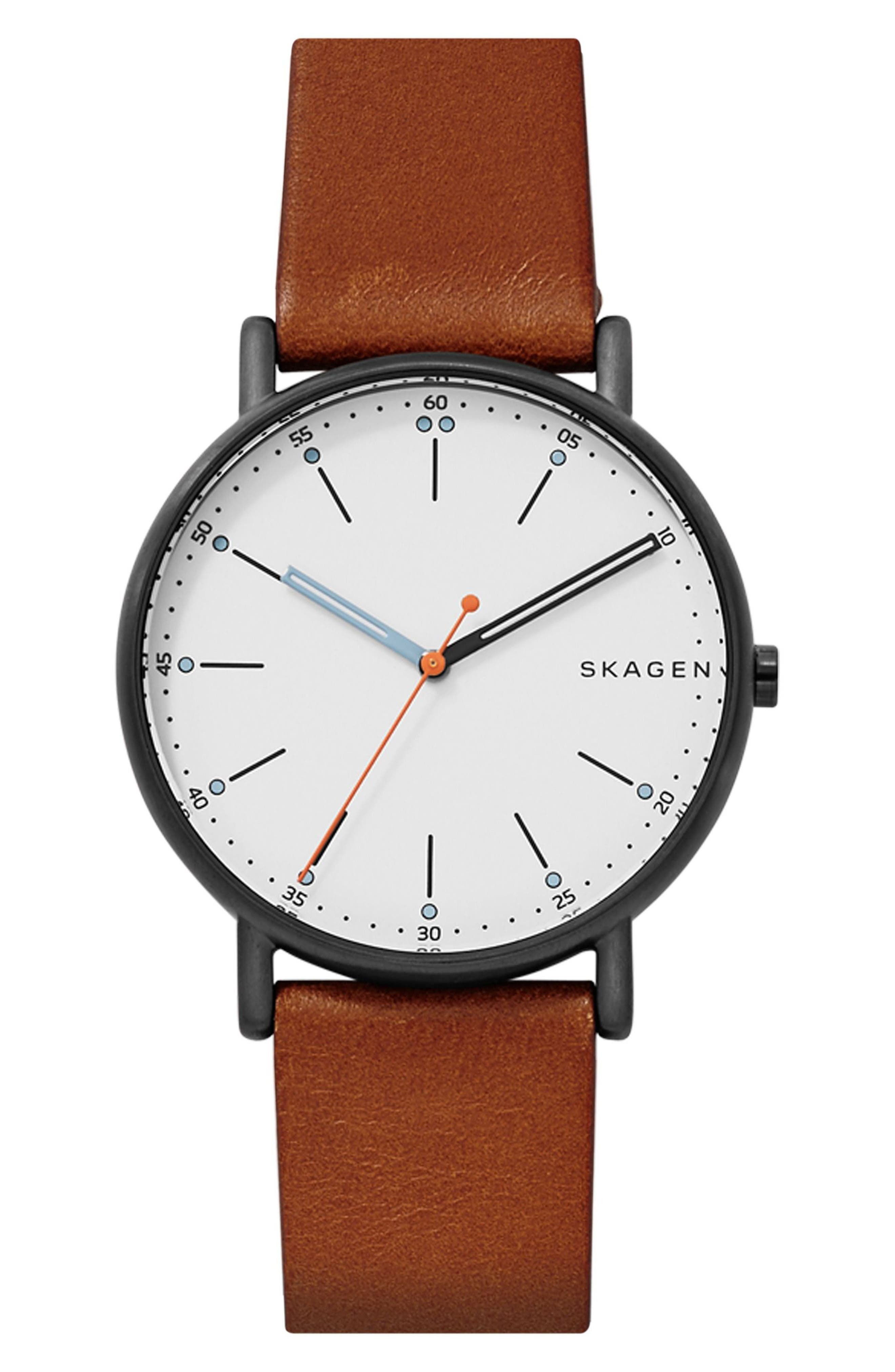 Signatur Leather Strap Watch, 40mm,                         Main,                         color, Brown/ White/ Black