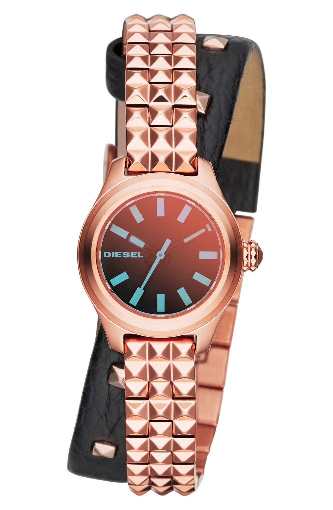 Main Image - DIESEL® Double Wrap Bracelet and Leather Strap Watch, 22mm