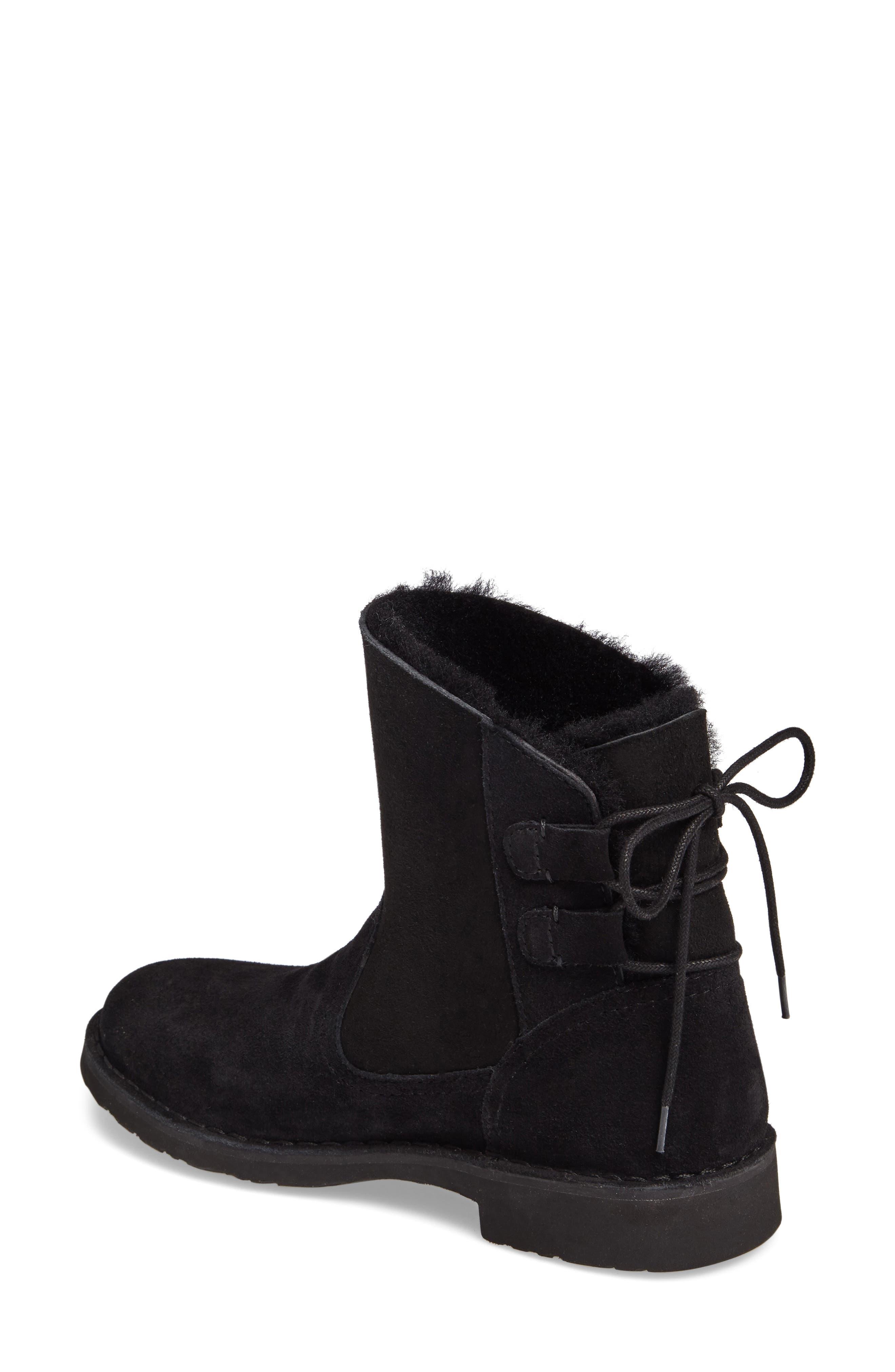 Naiyah Lace-Back Genuine Shearling Boot,                             Alternate thumbnail 2, color,                             Black Nubuck Leather