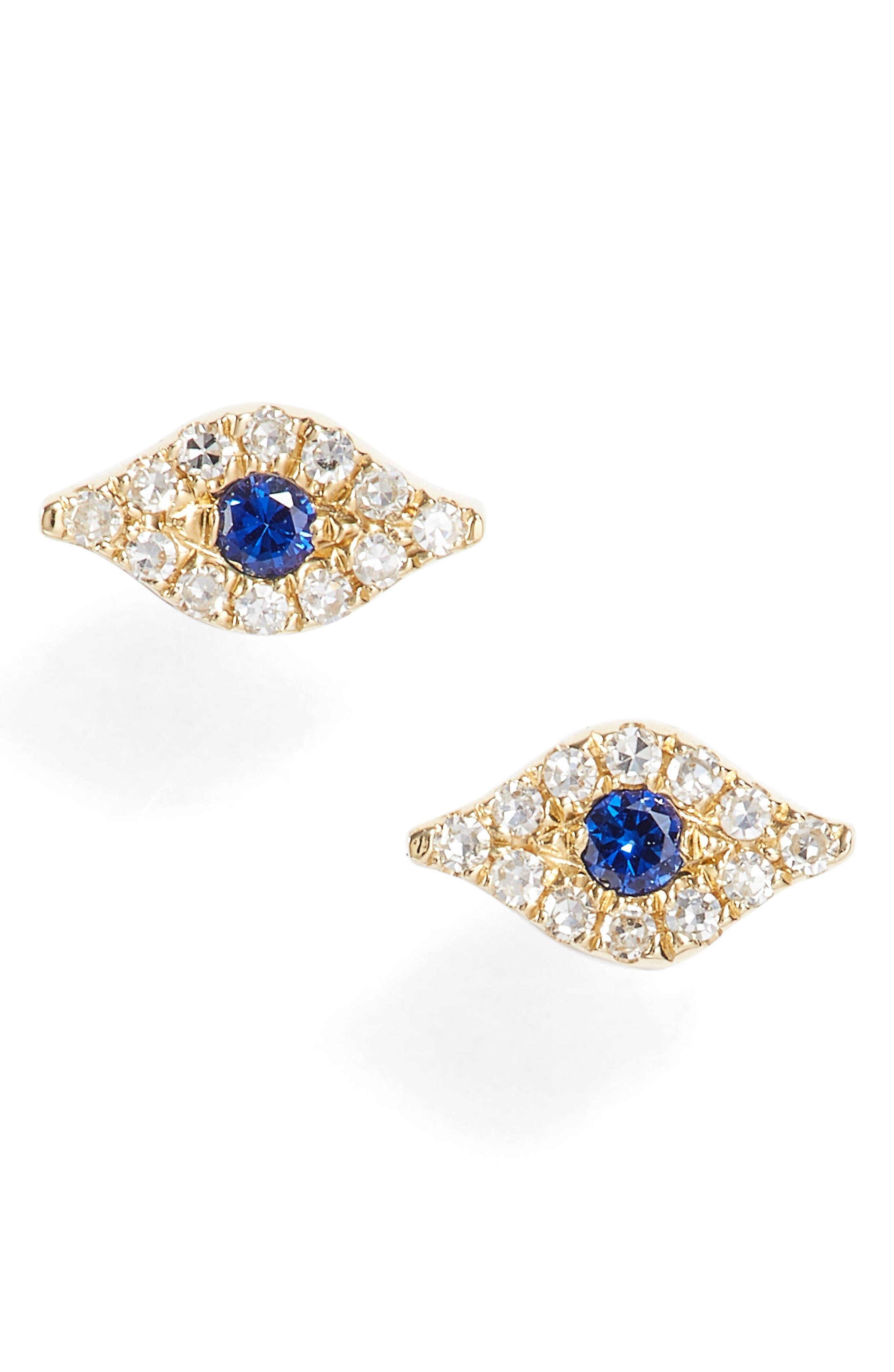 EF COLLECTION Evil Eye Diamond & Sapphire Stud Earrings
