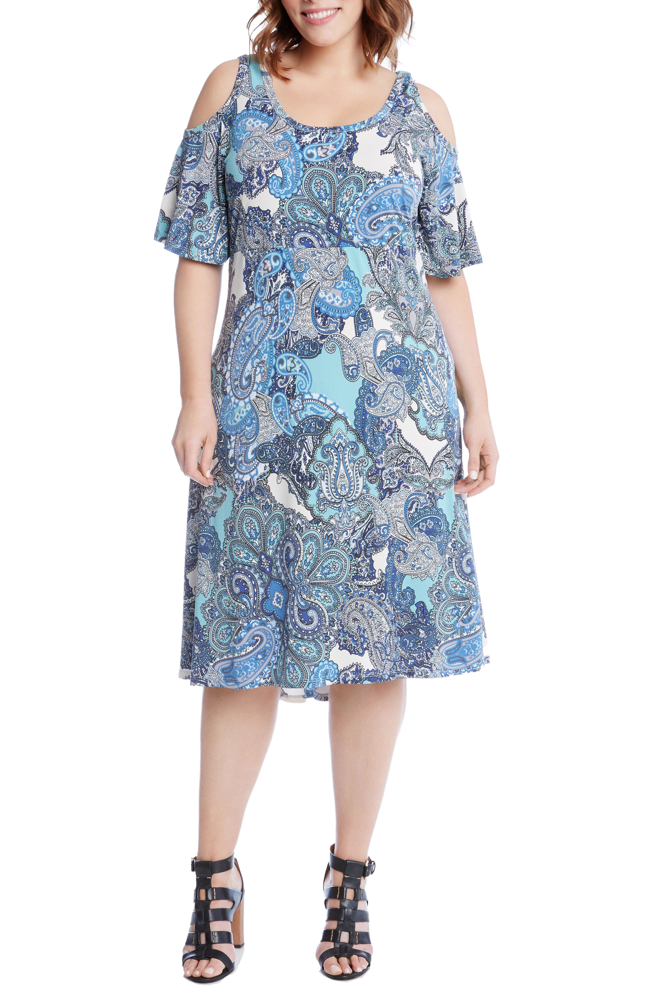 Alternate Image 1 Selected - Karen Kane Cold Shoulder Paisley Midi Dress (Plus Size)