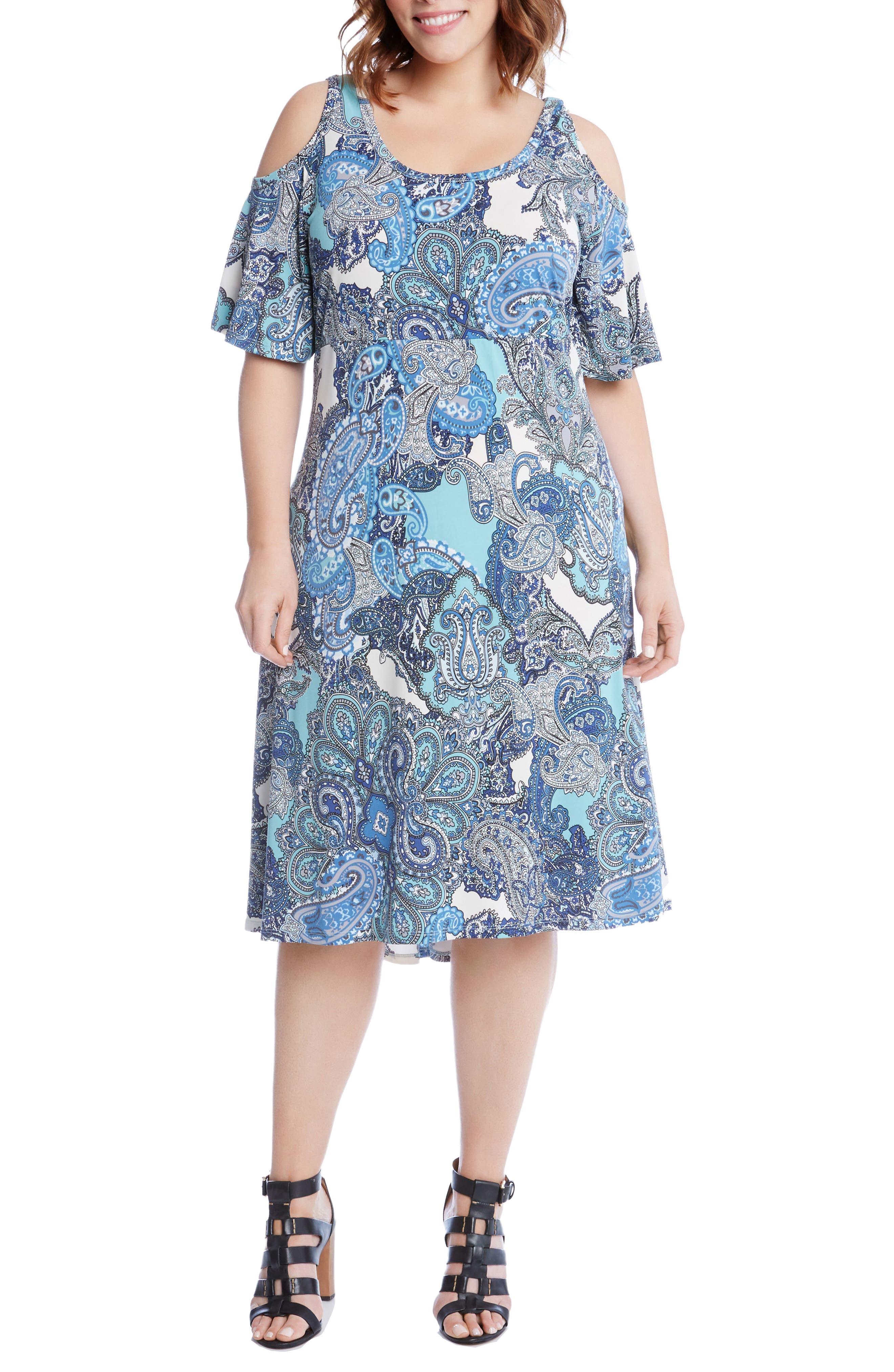 Main Image - Karen Kane Cold Shoulder Paisley Midi Dress (Plus Size)