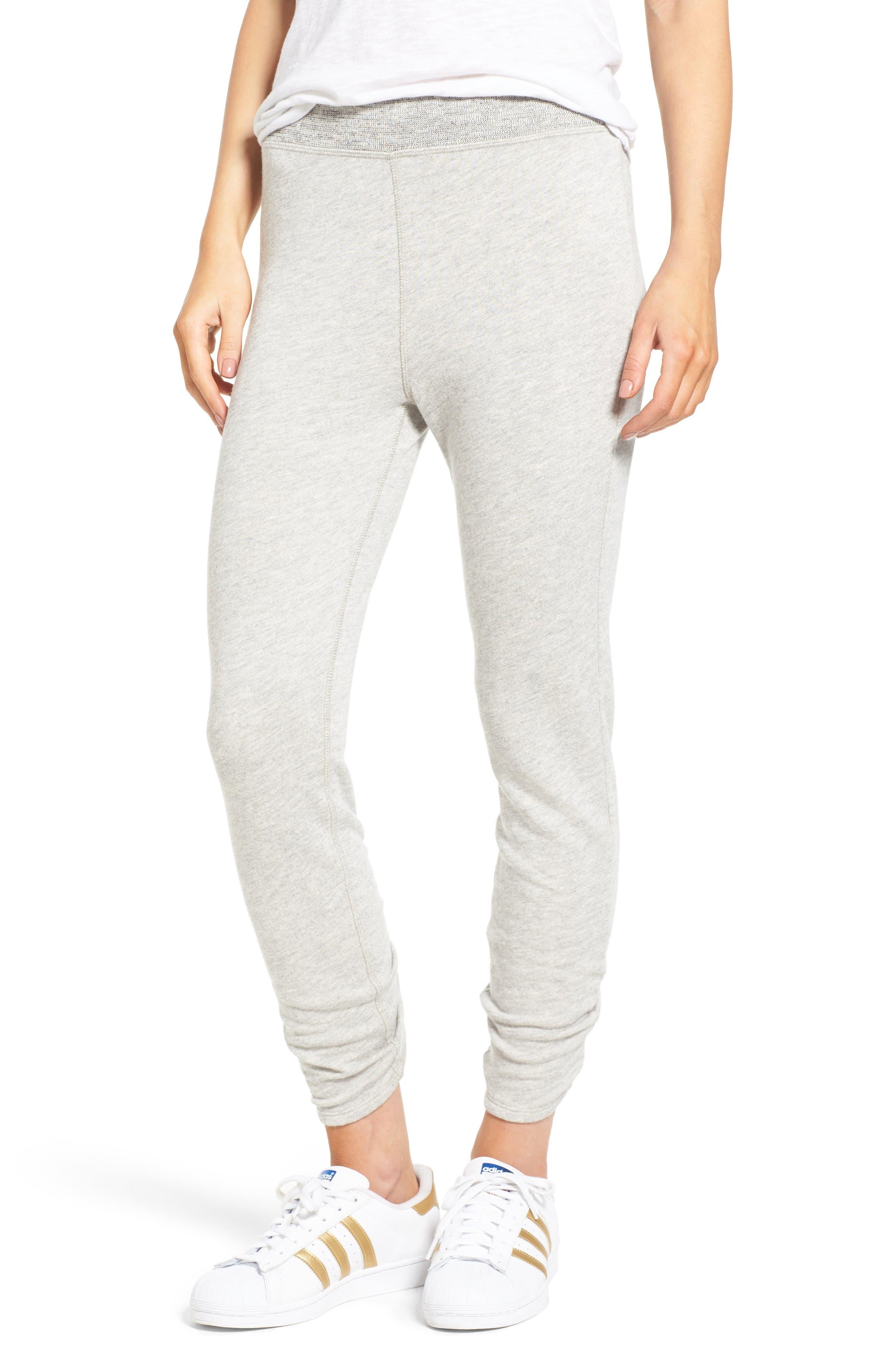 Isla High Waist Crop Sweatpants,                             Main thumbnail 1, color,                             Heather Grey