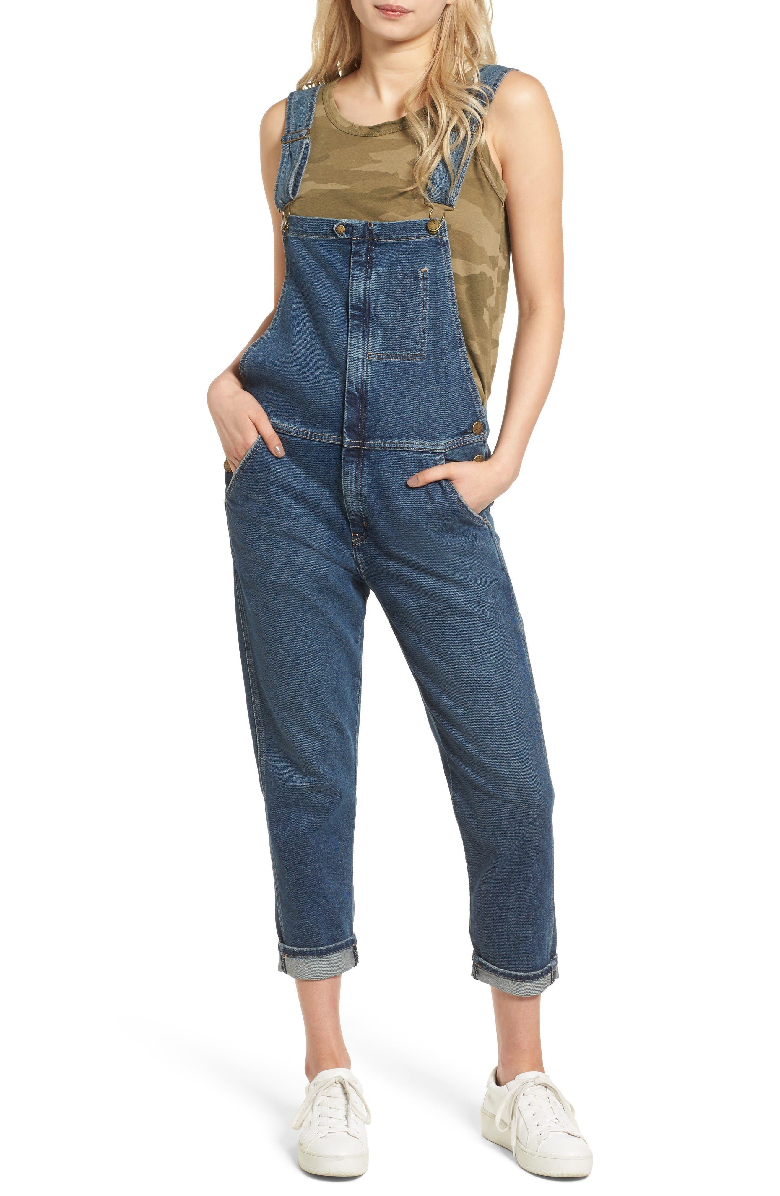 Alternate Image 1 Selected - Current/Elliott The Ranchhand Crop Denim Overalls
