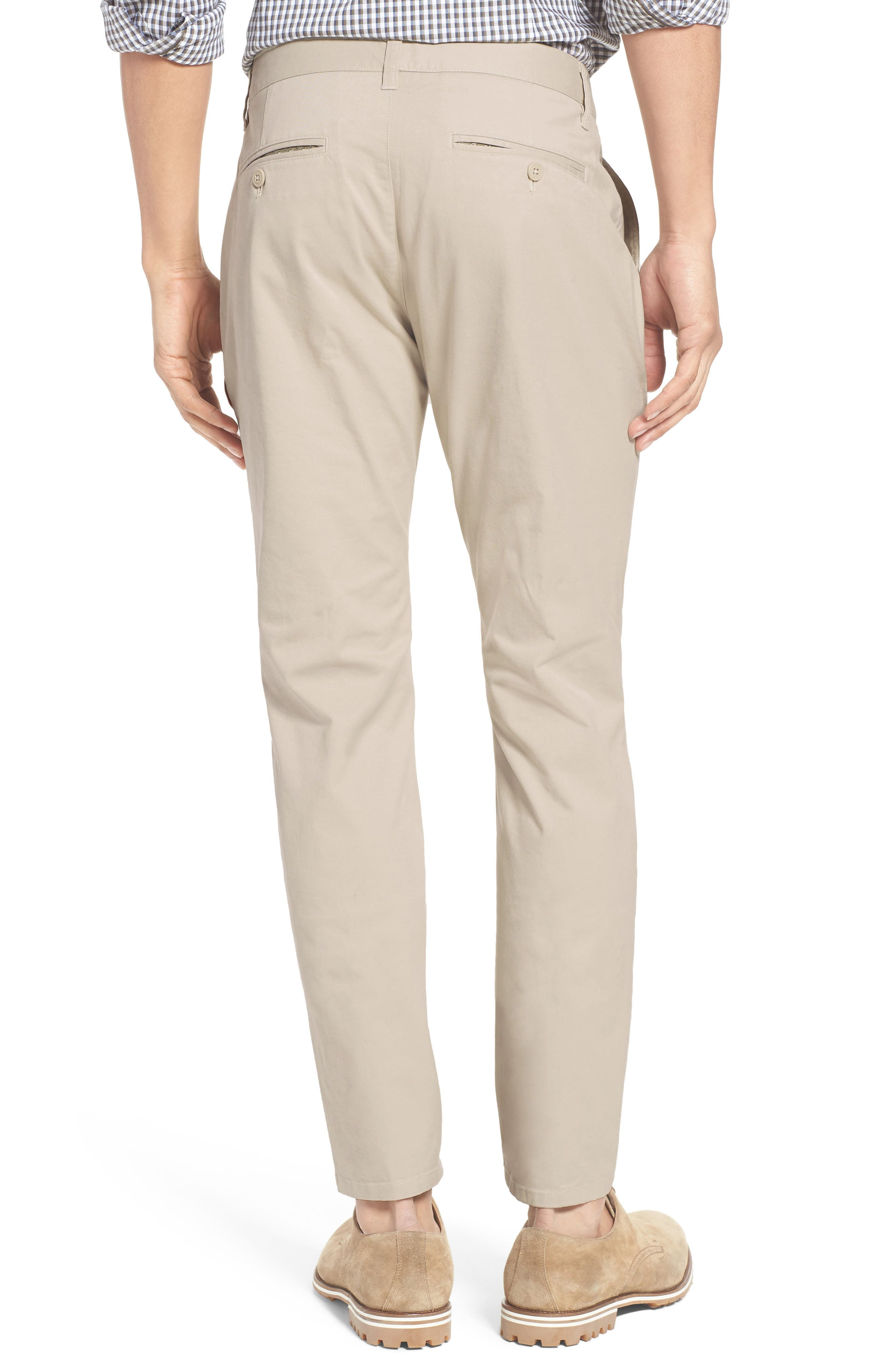 Tailored Fit Washed Stretch Cotton Chinos,                             Alternate thumbnail 2, color,                             Millstones
