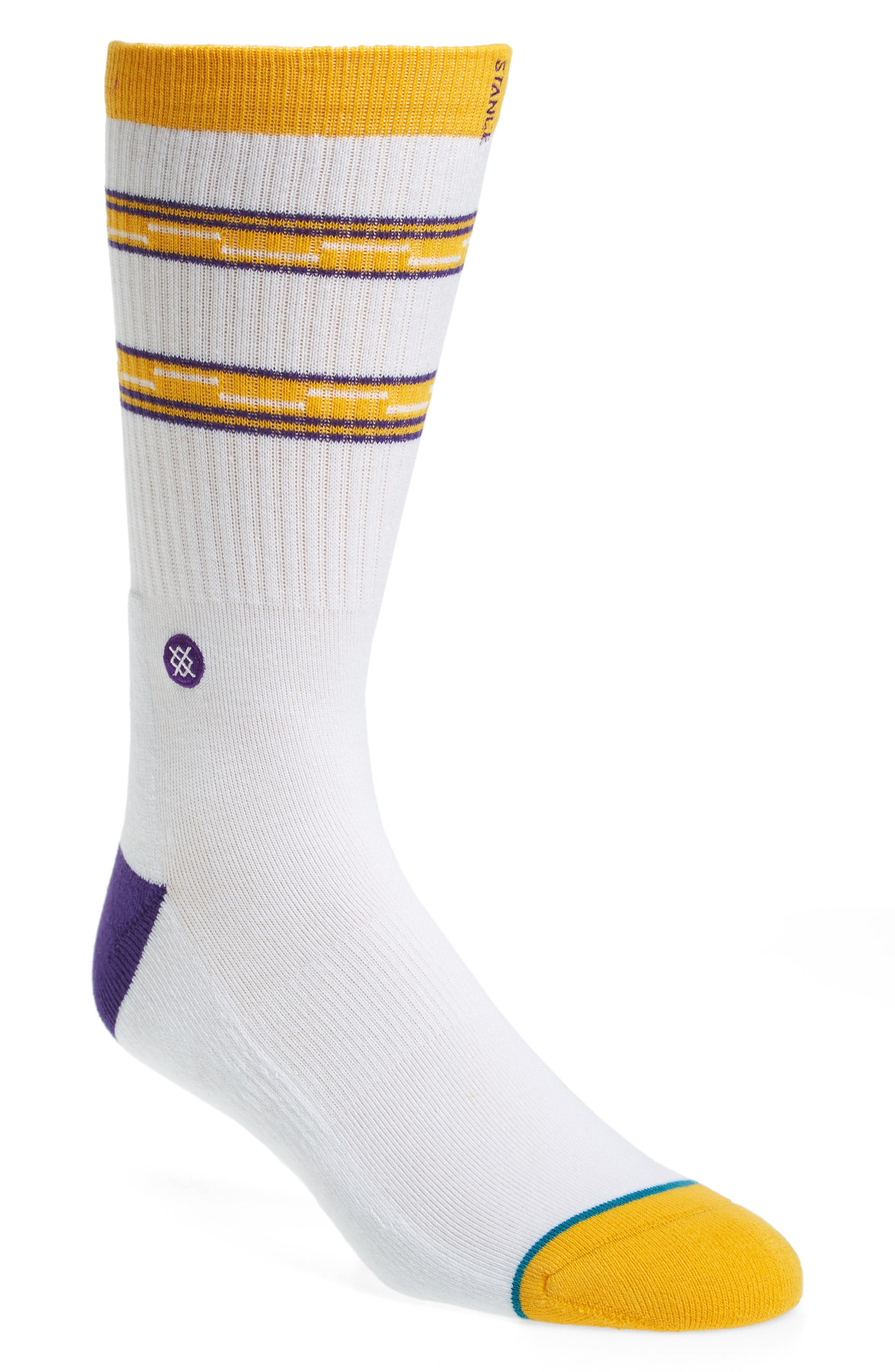 Los Angeles Lakers Arena Core Socks,                         Main,                         color, White