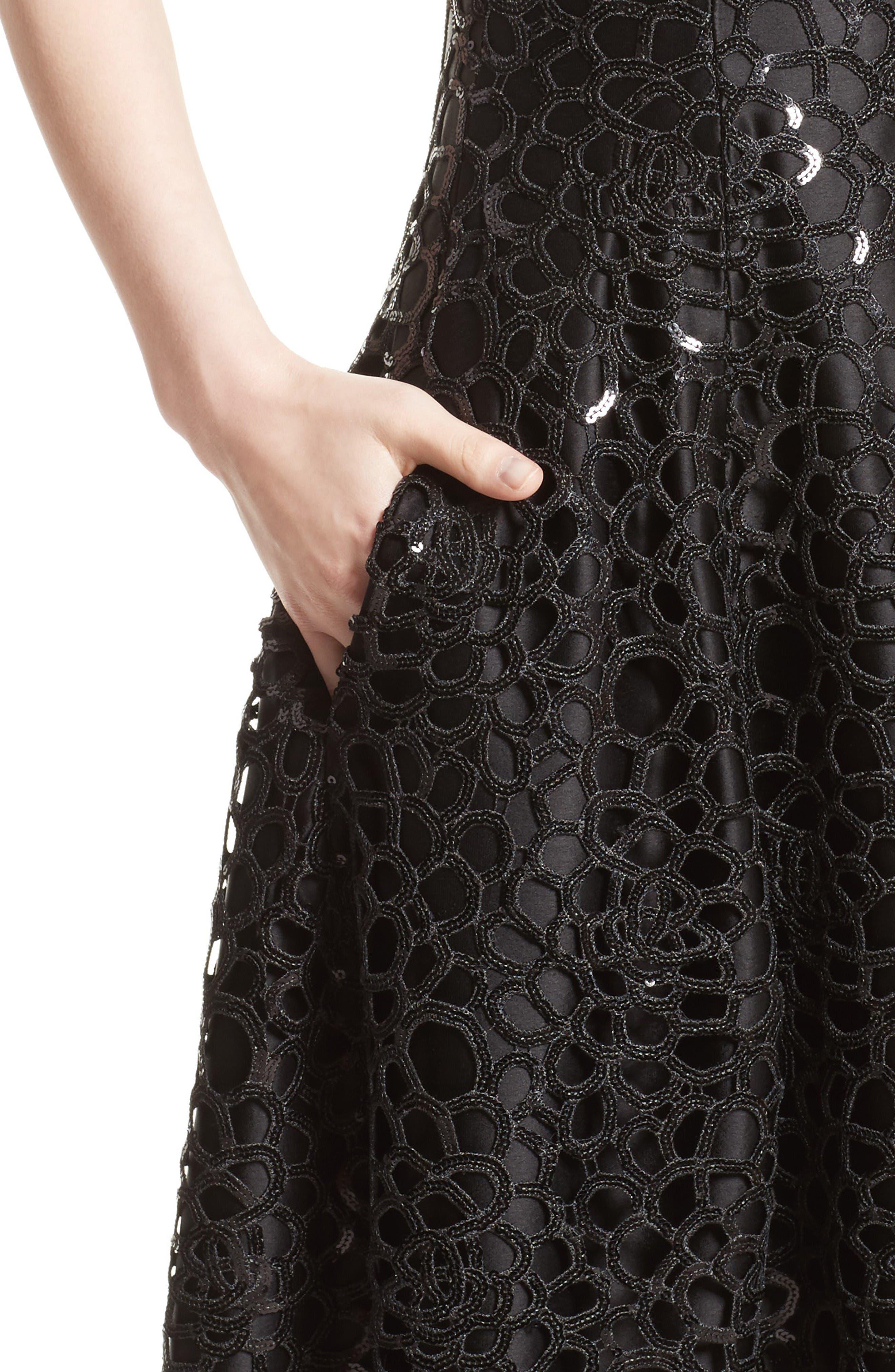 Sequin Cutout Fit & Flare Dress,                             Alternate thumbnail 6, color,                             Black