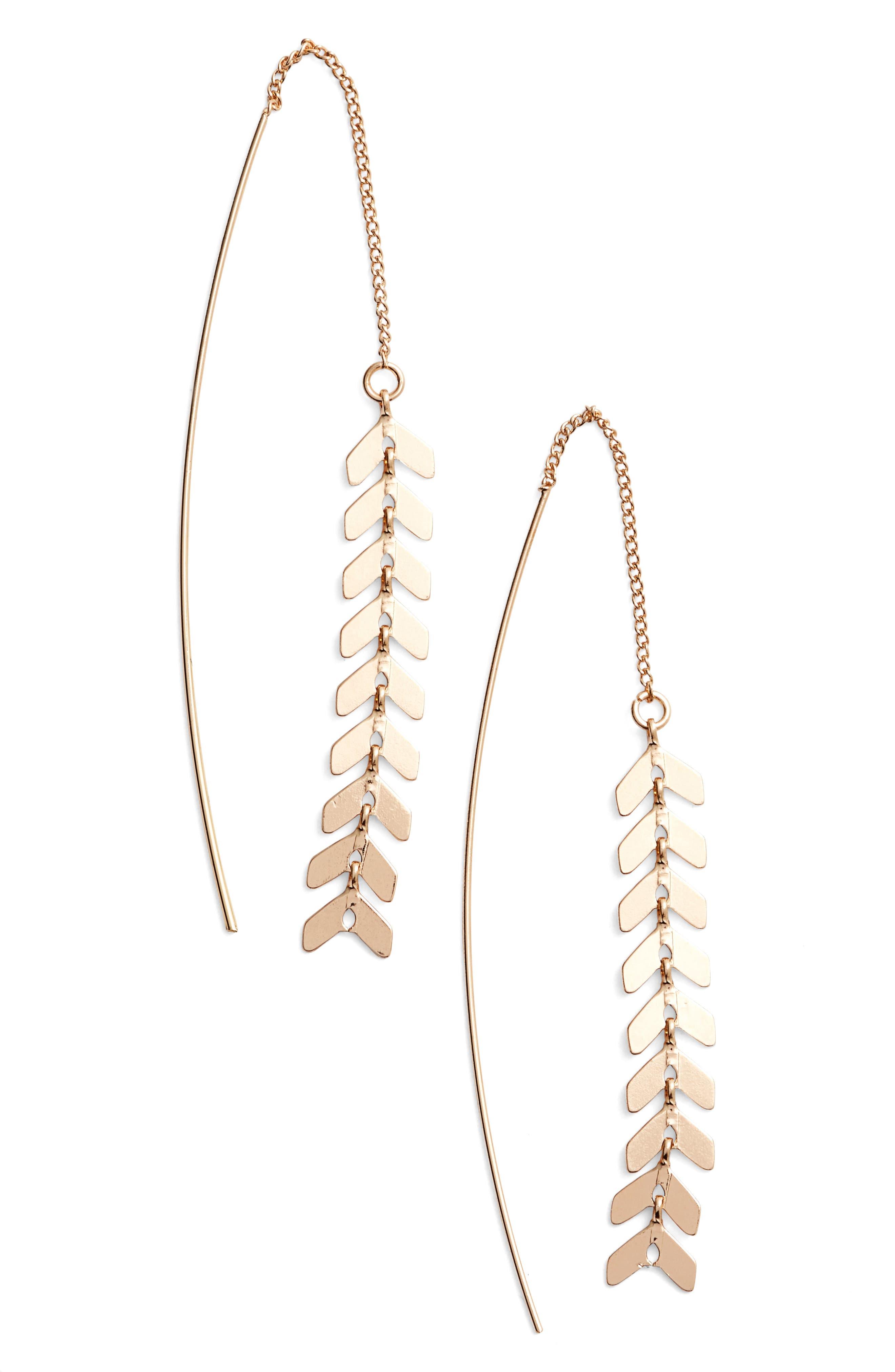 Helene Threader Earrings,                         Main,                         color, Gold