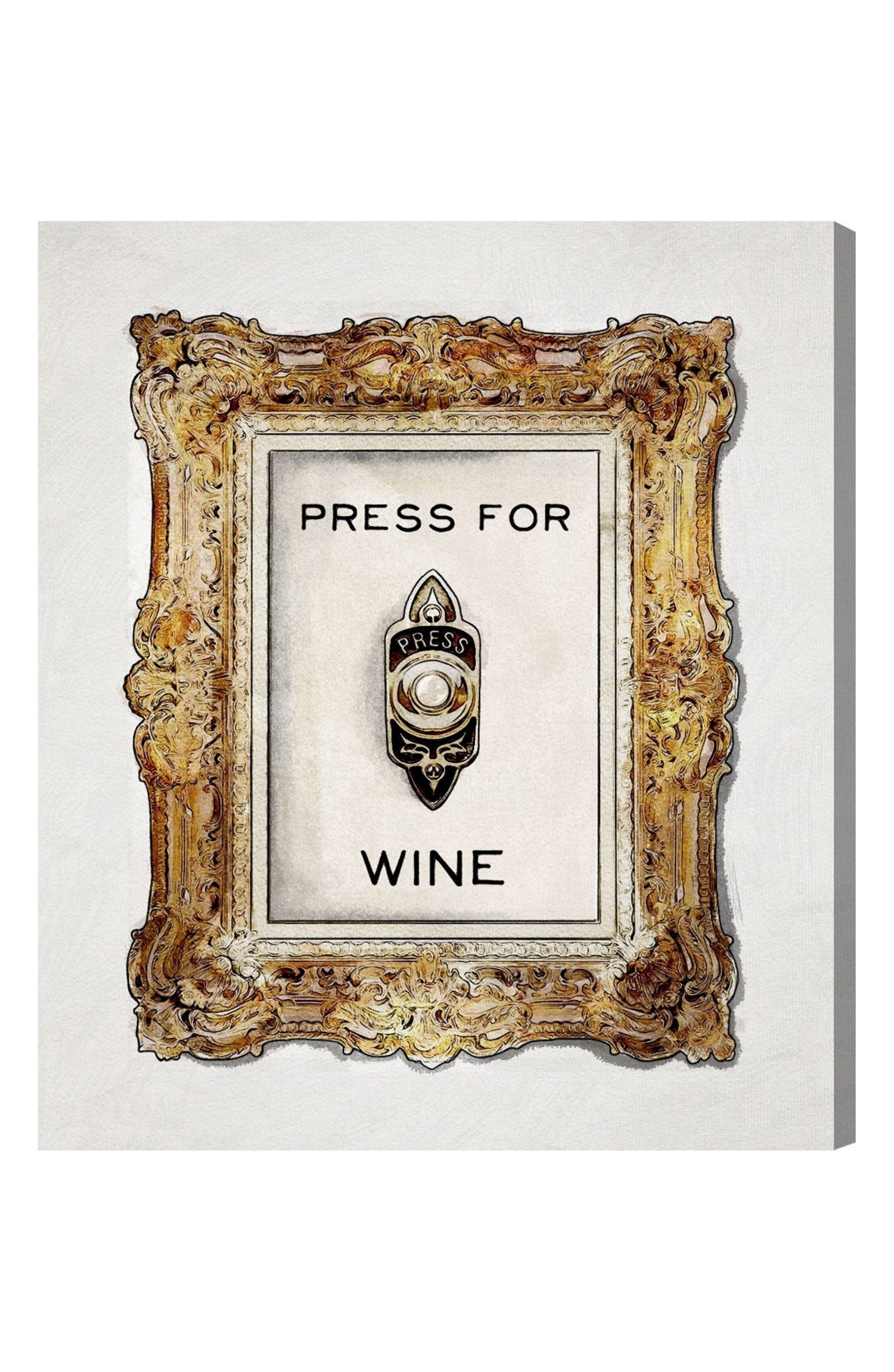 Press for Wine Canvas Wall Art,                             Main thumbnail 1, color,                             White