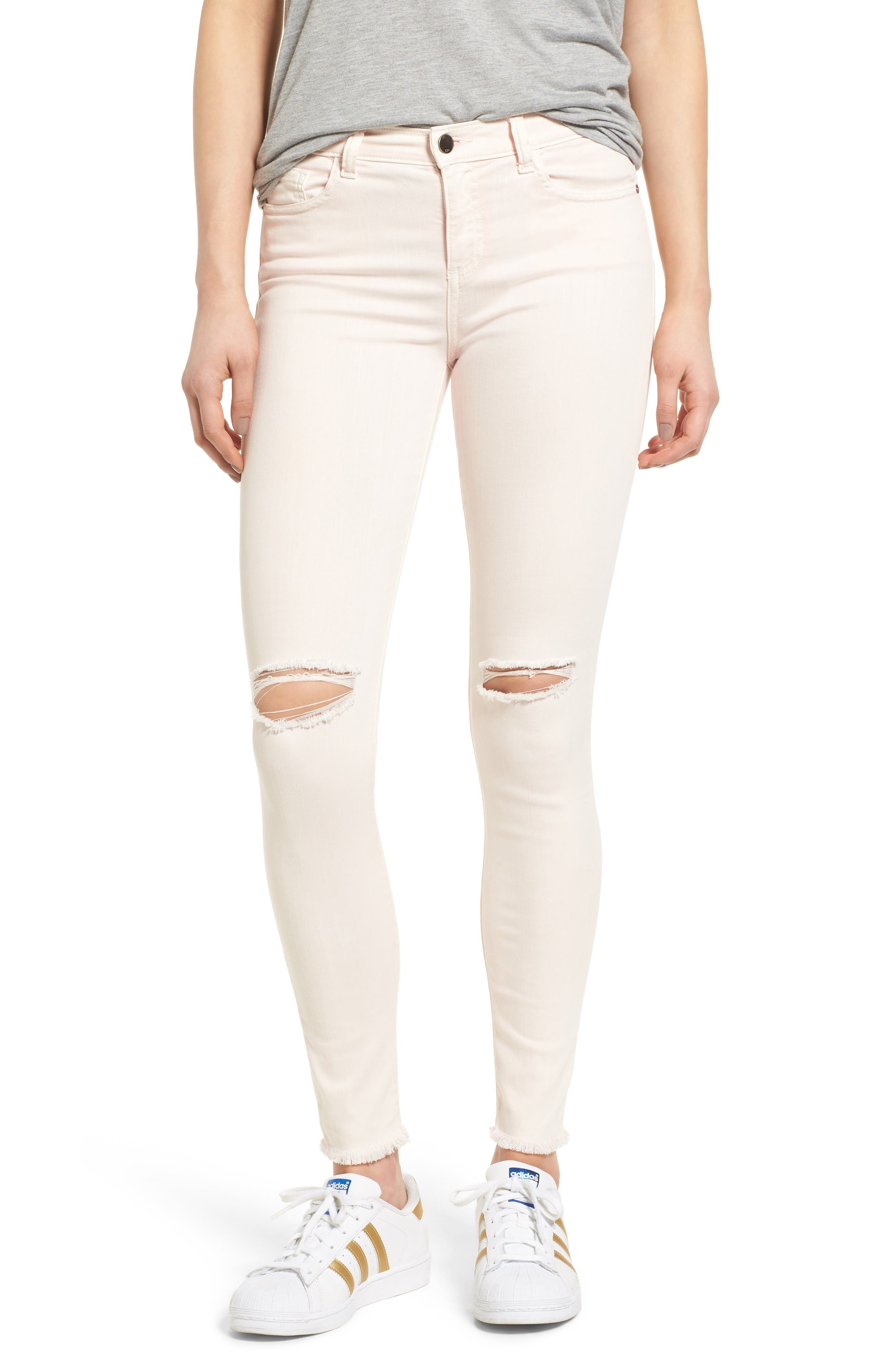 Ripped Skinny Jeans,                         Main,                         color, Blush