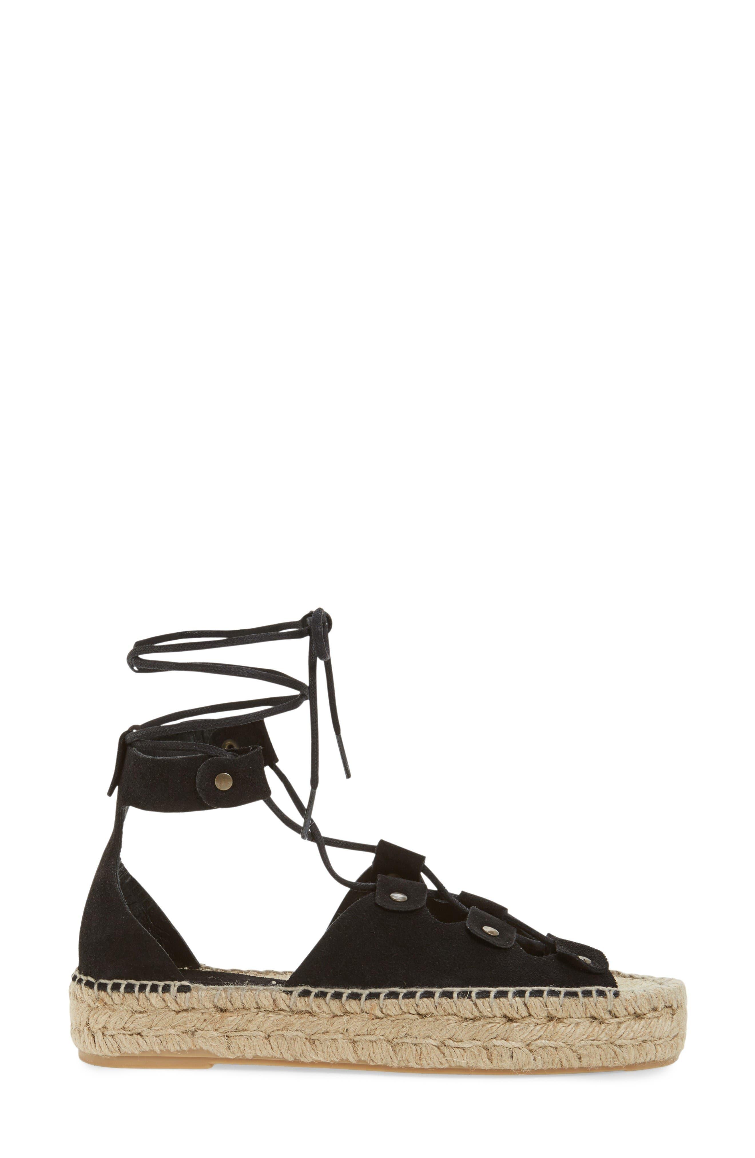 Ghillie Platform Sandal,                             Alternate thumbnail 3, color,                             Black Suede