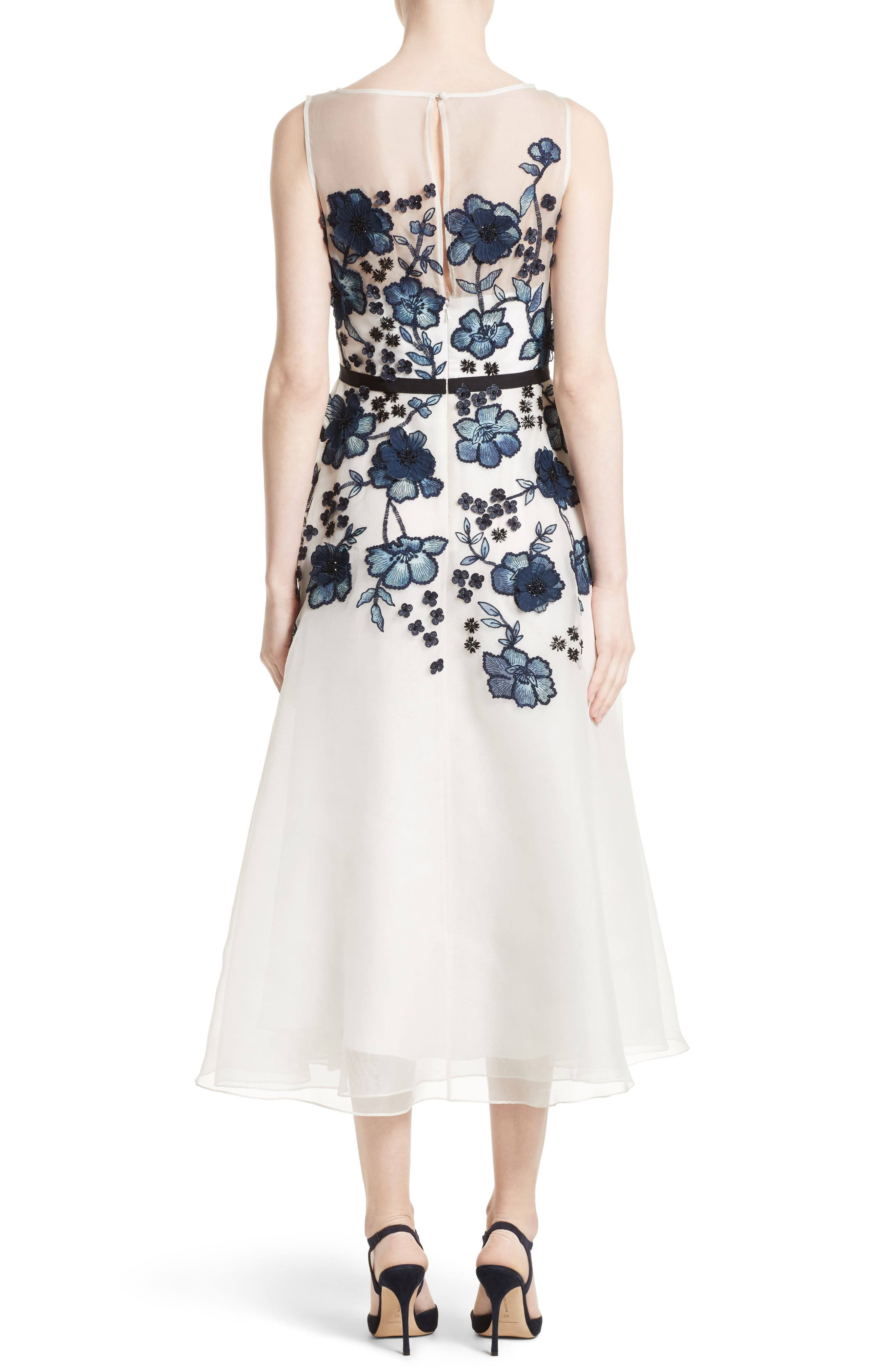 Floral Embroidered Dress,                             Alternate thumbnail 2, color,                             Navy/ Ivory