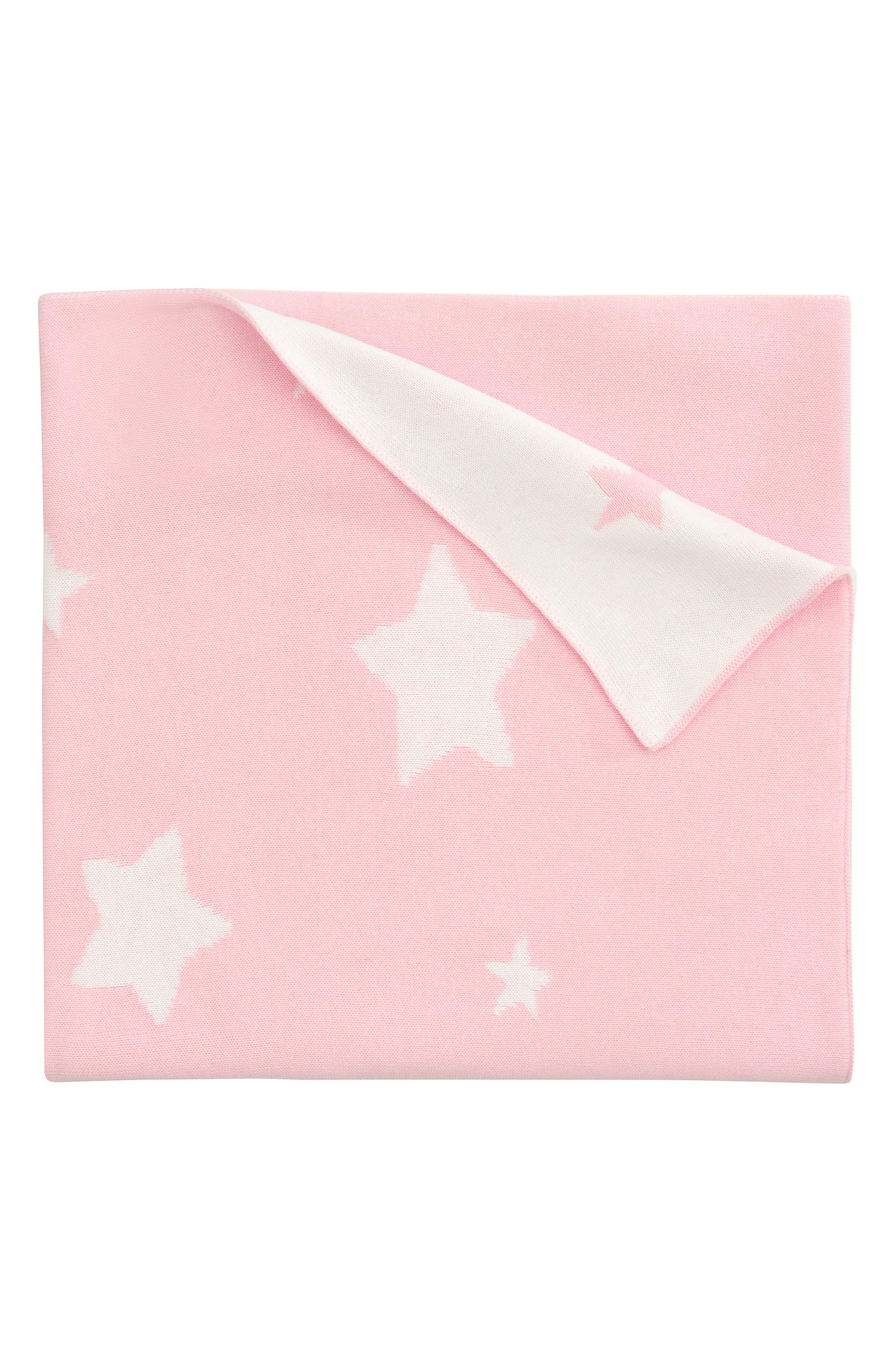 'Star' Knit Blanket,                         Main,                         color, Light Pink