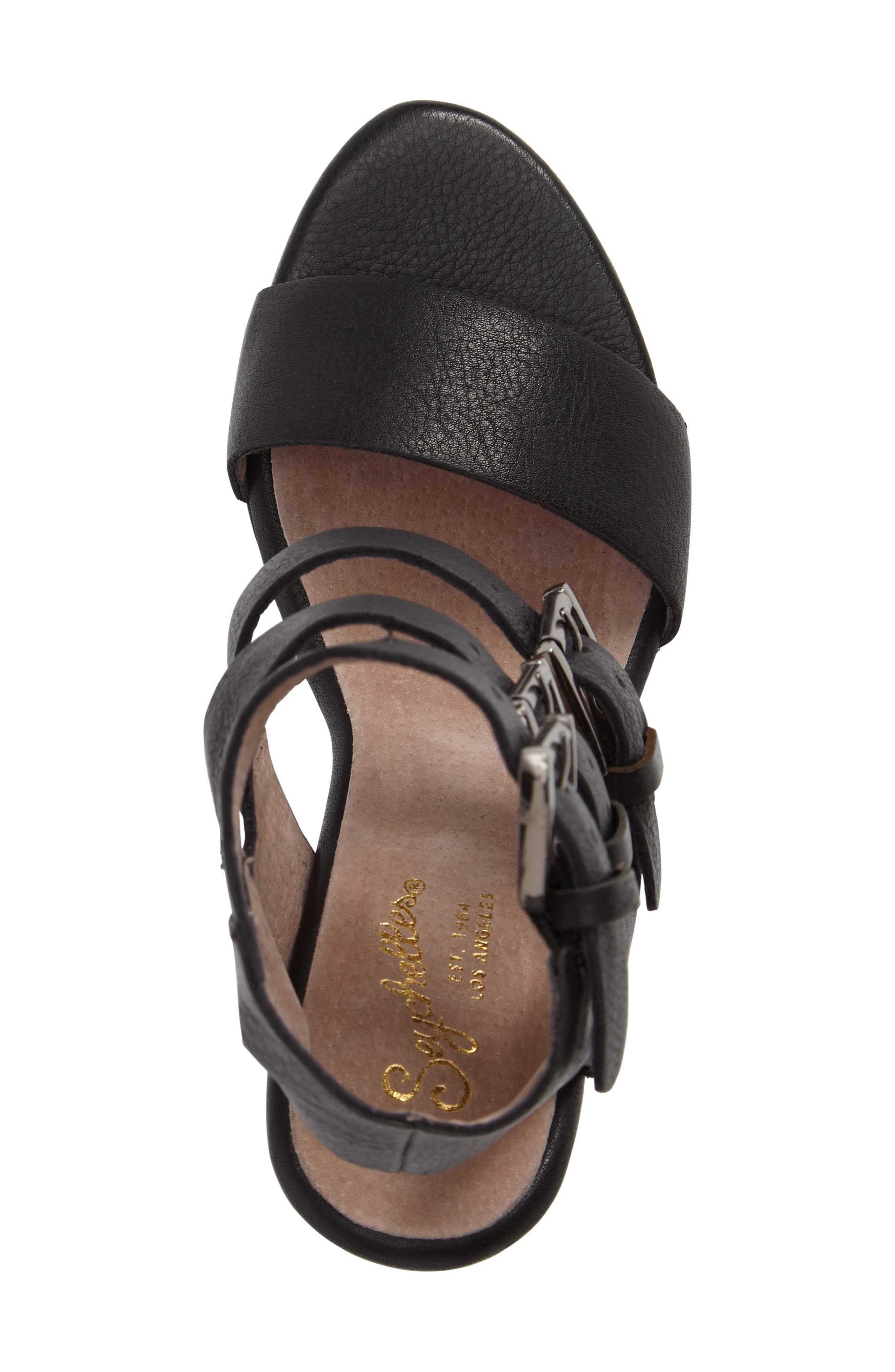 Dilly Dally Sandal,                             Alternate thumbnail 5, color,                             Black Leather