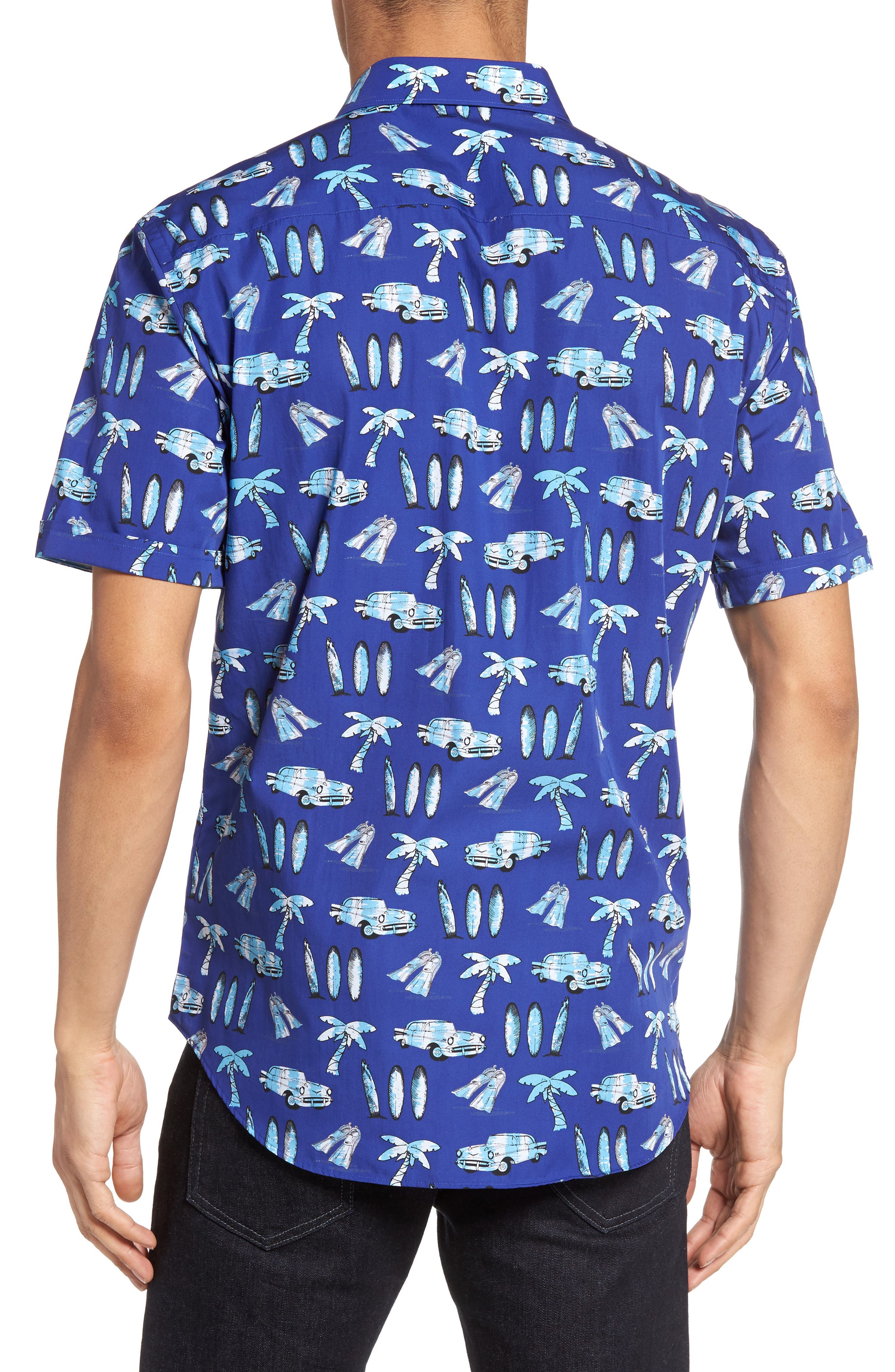 Alternate Image 2  - Bugatchi Shaped Fit Beach Print Sport Shirt