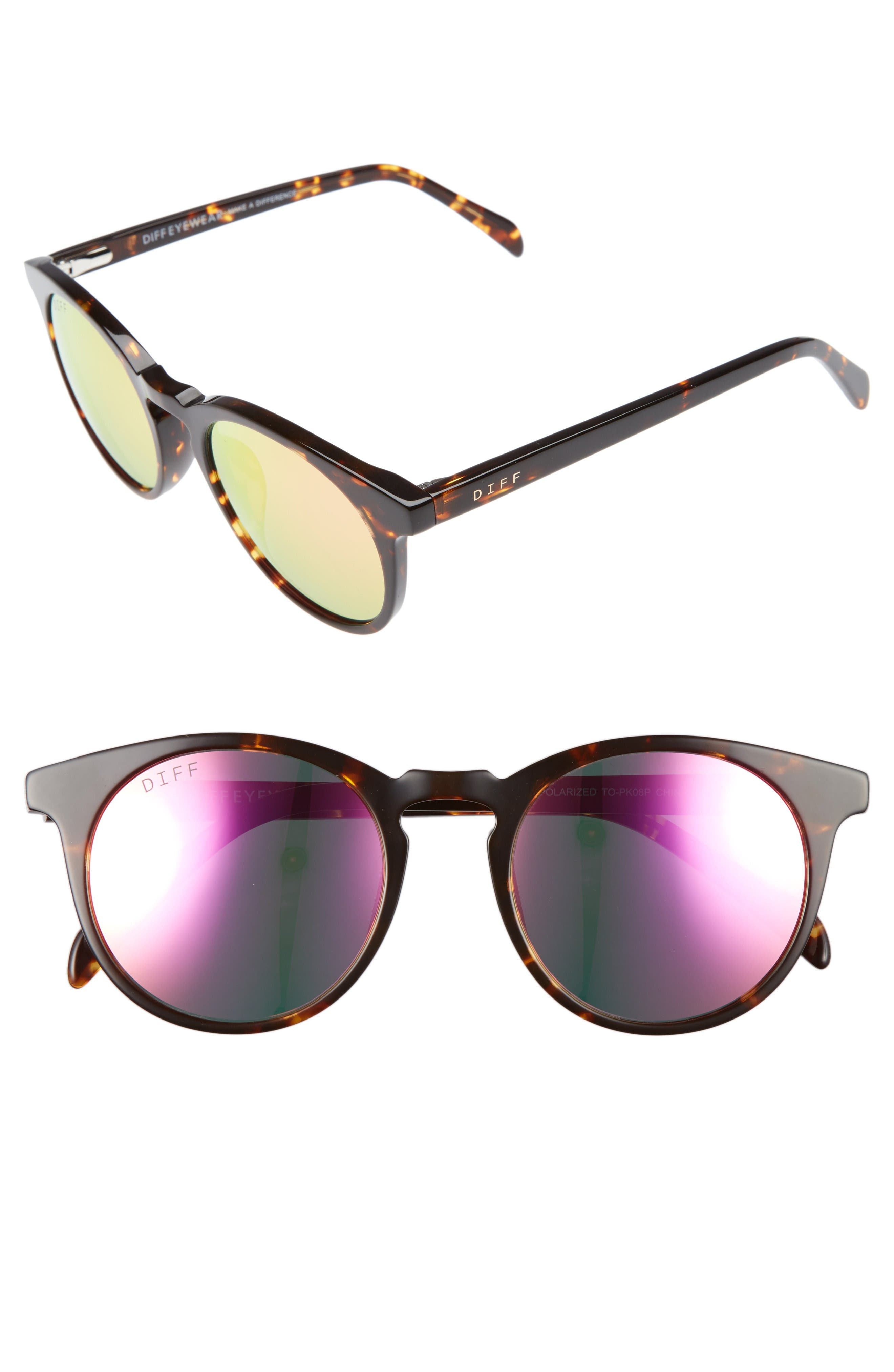 Charlie 48mm Mirrored Polarized Round Retro Sunglasses,                             Main thumbnail 1, color,                             Tortoise/ Pink