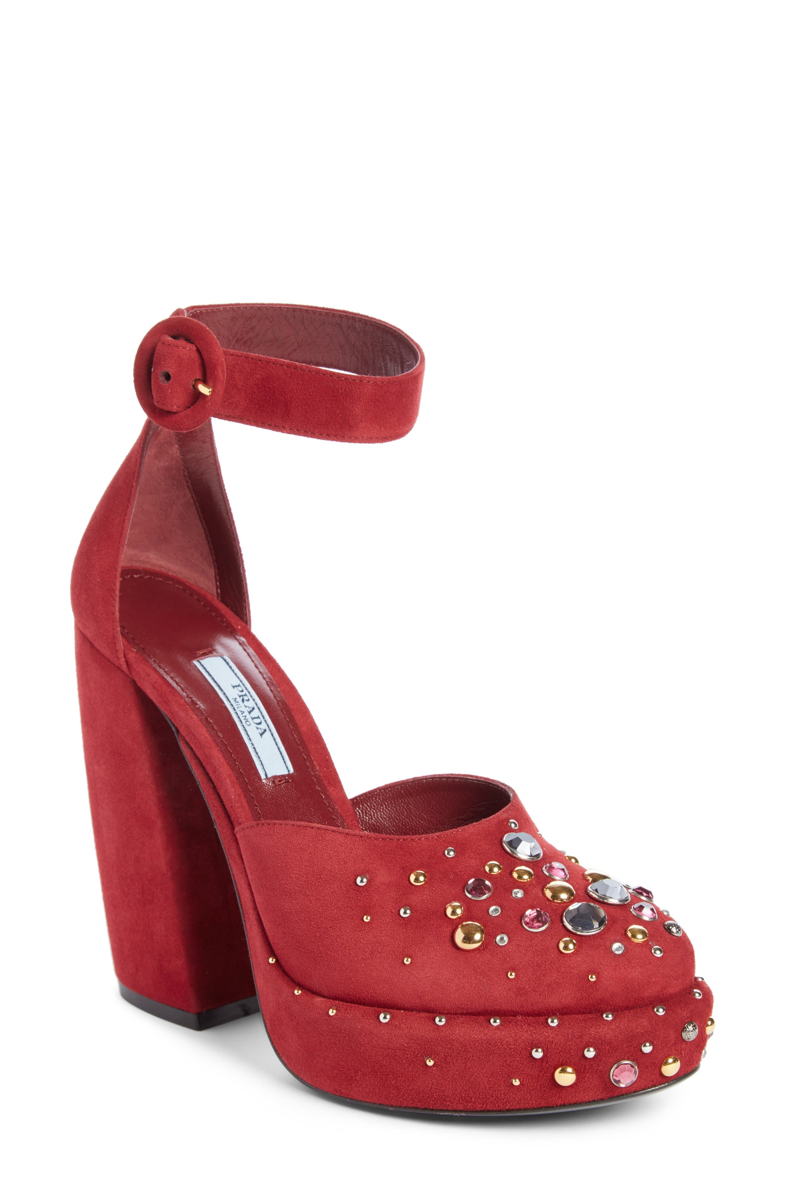 Embellished Ankle Strap Pump,                             Main thumbnail 1, color,                             Dark Red