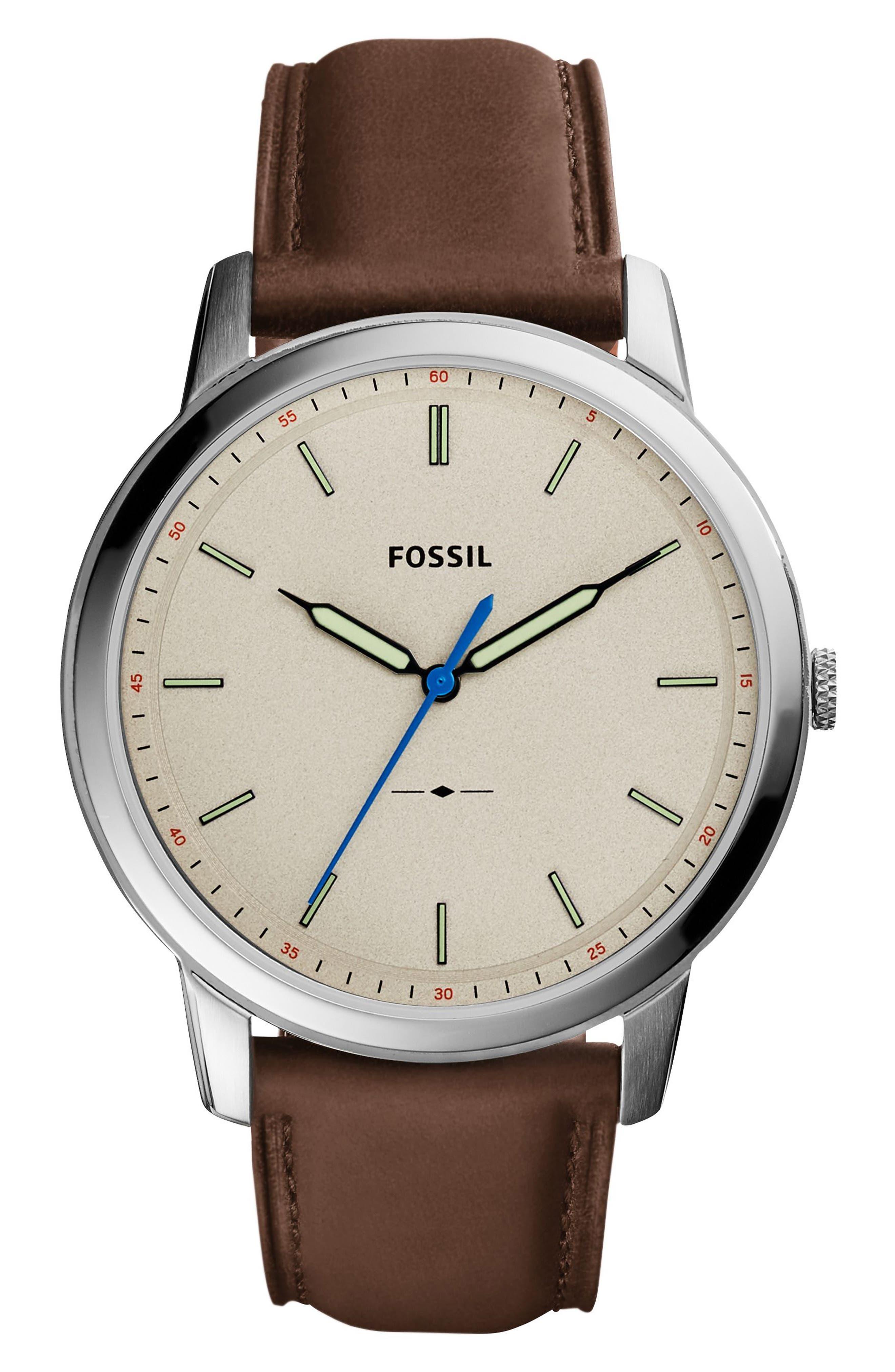 Main Image - Fossil Minimalist Leather Strap Watch, 44mm