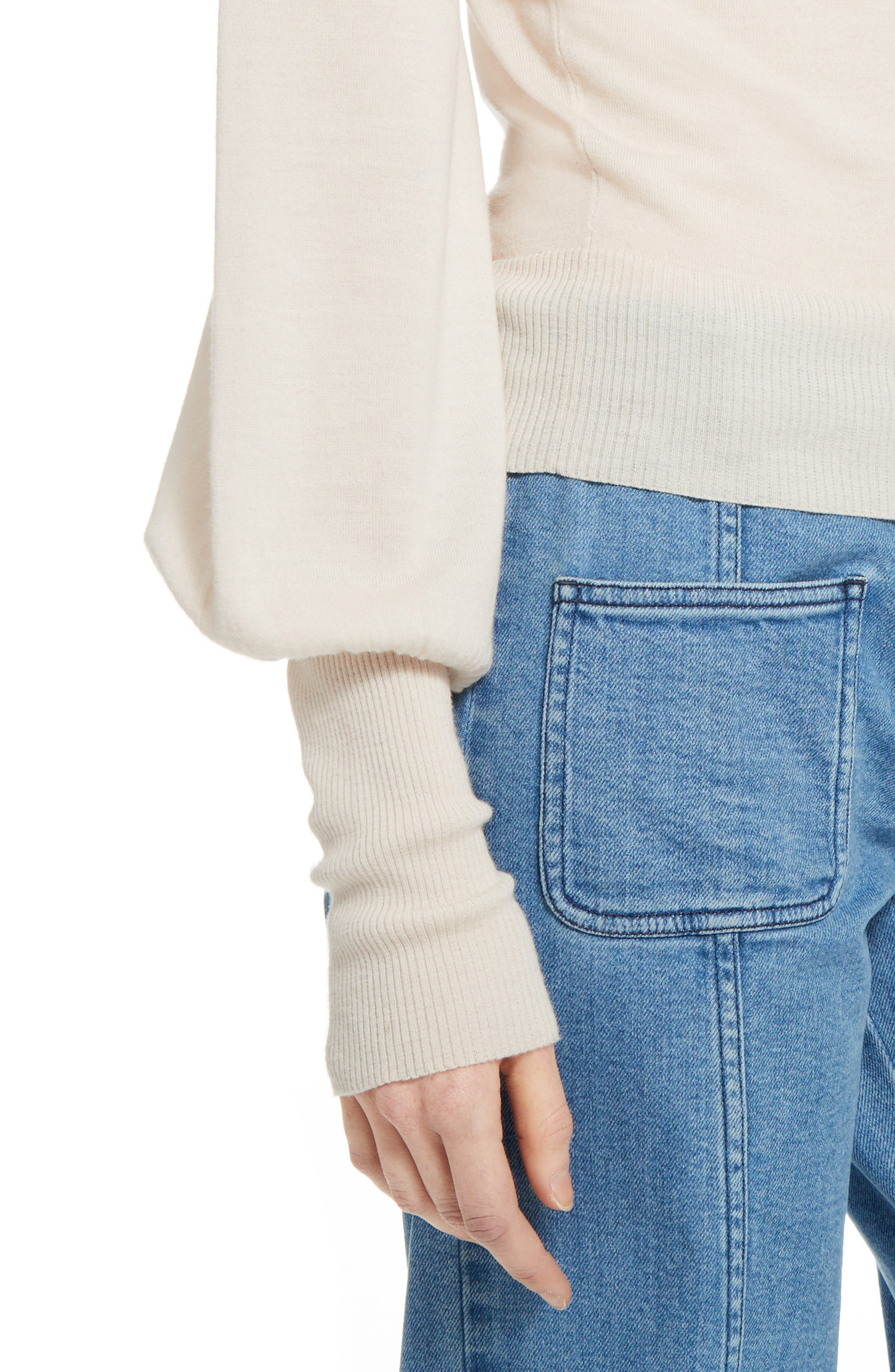 Wool Turtleneck Sweater,                             Alternate thumbnail 8, color,                             Off White