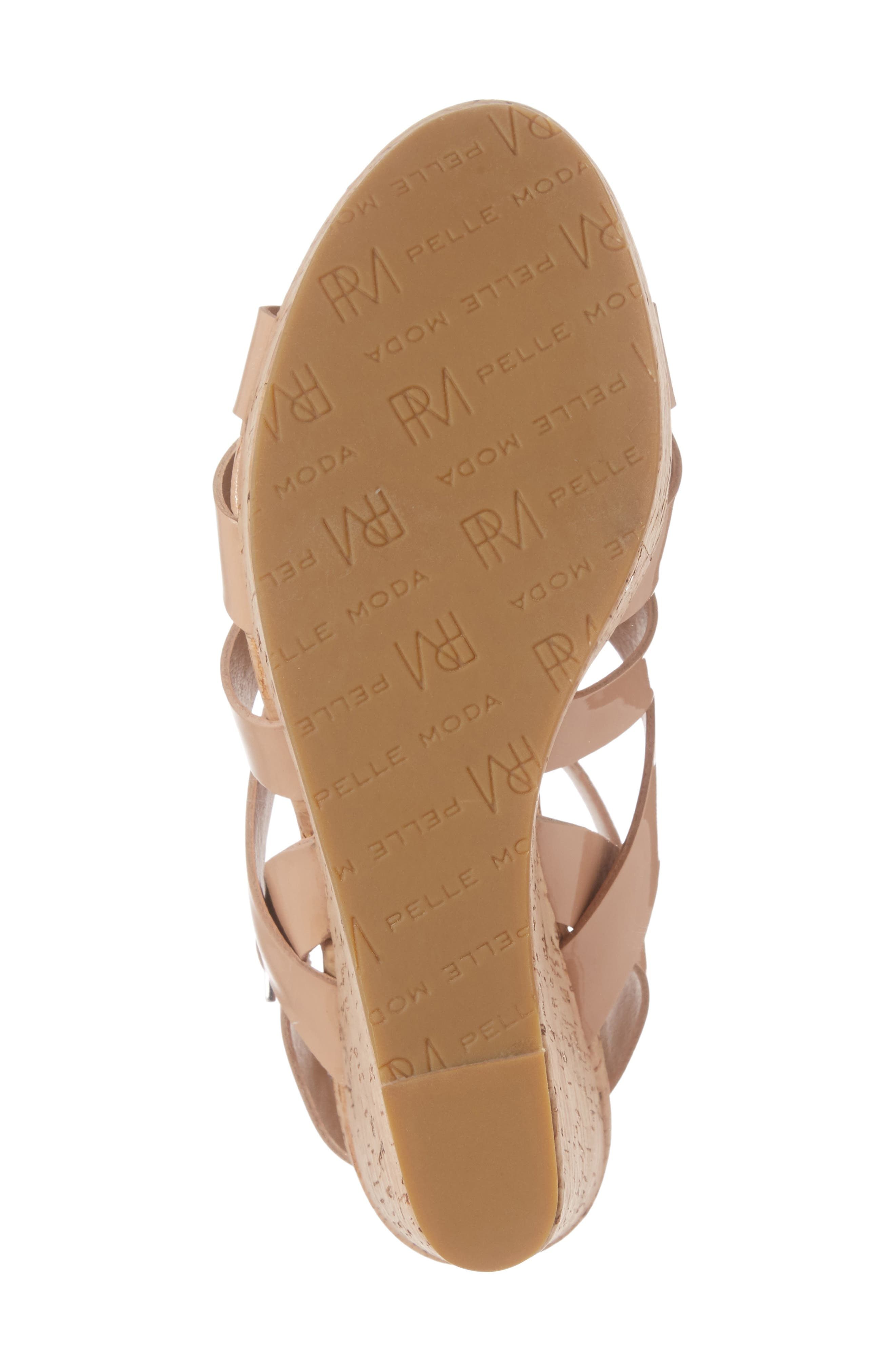 Rayjay Wedge Sandal,                             Alternate thumbnail 6, color,                             Blush Leather