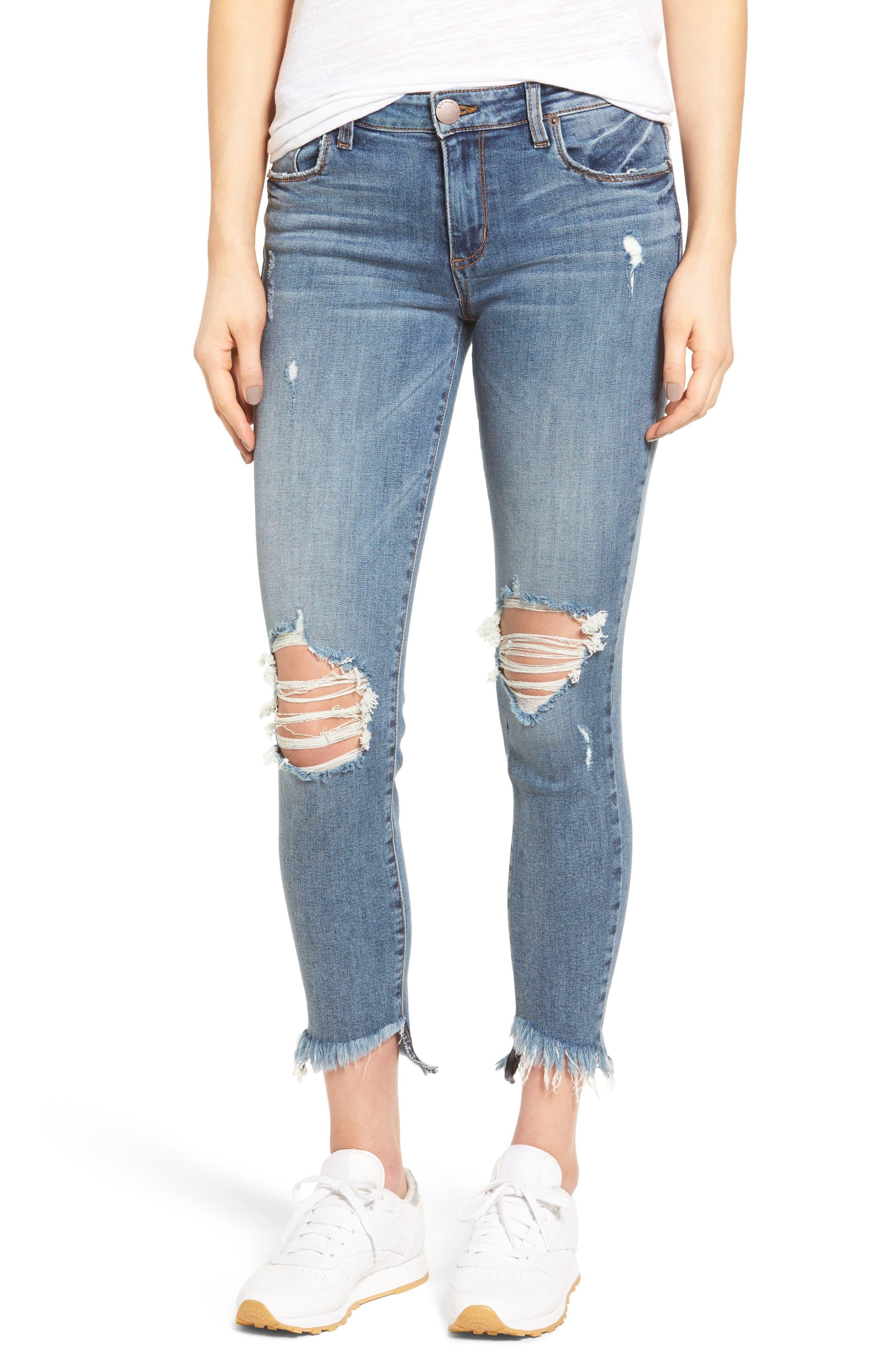 Emma Frayed Hem Skinny Jeans,                             Main thumbnail 1, color,                             Elings Park