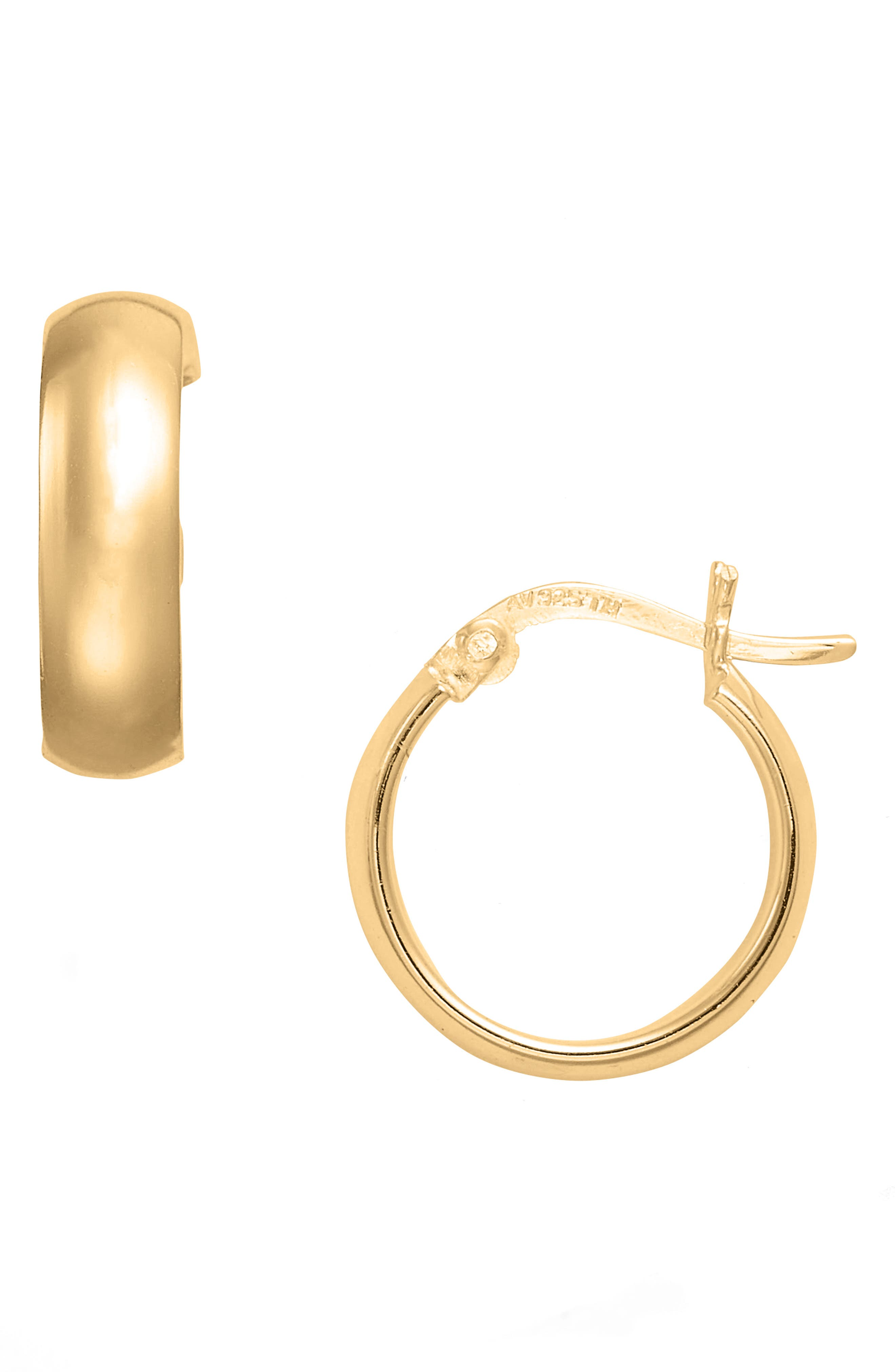 Small Curved Hoop Earrings,                         Main,                         color, Gold