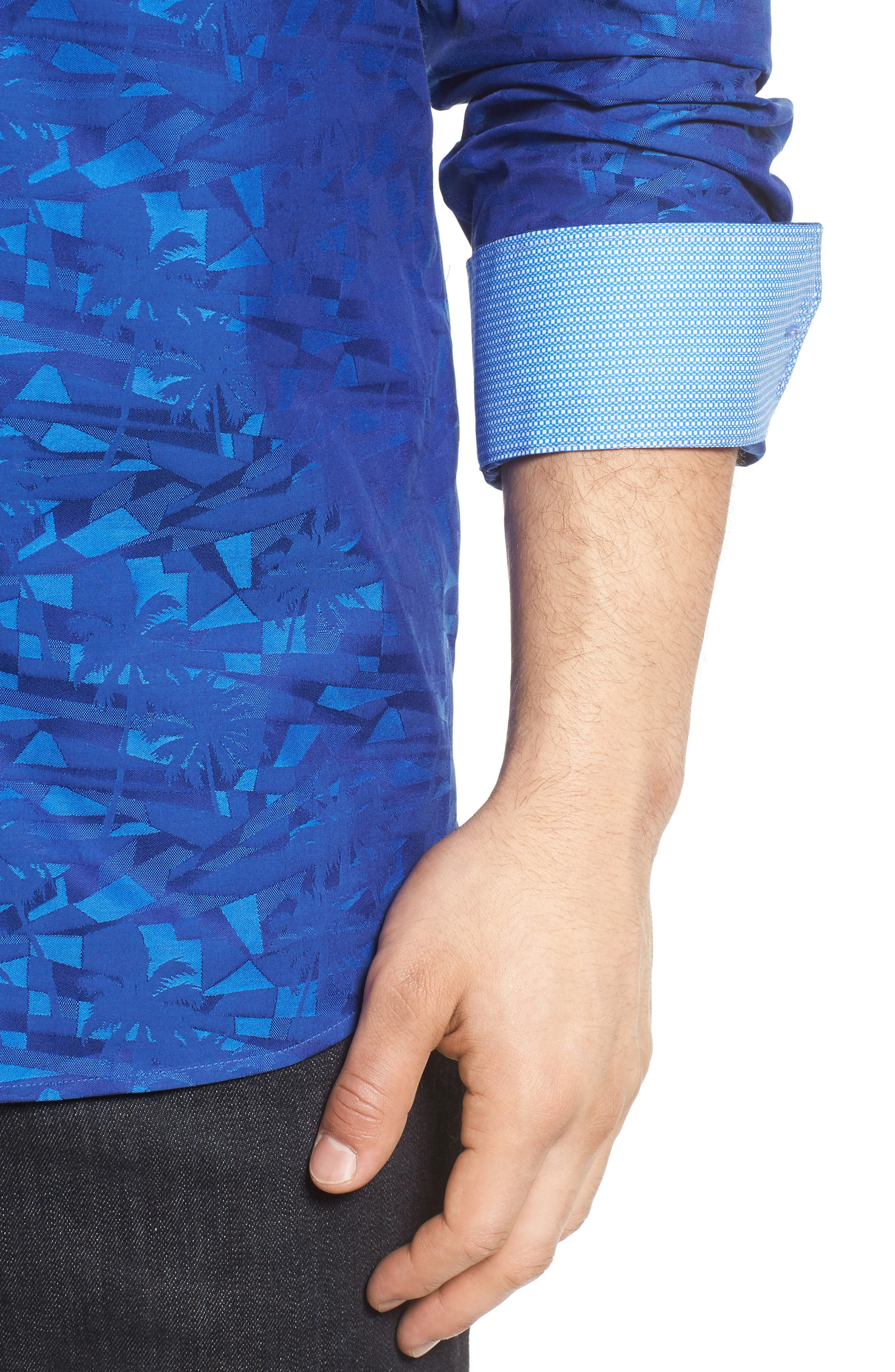 Classic Fit Sport Shirt,                             Alternate thumbnail 4, color,                             Navy