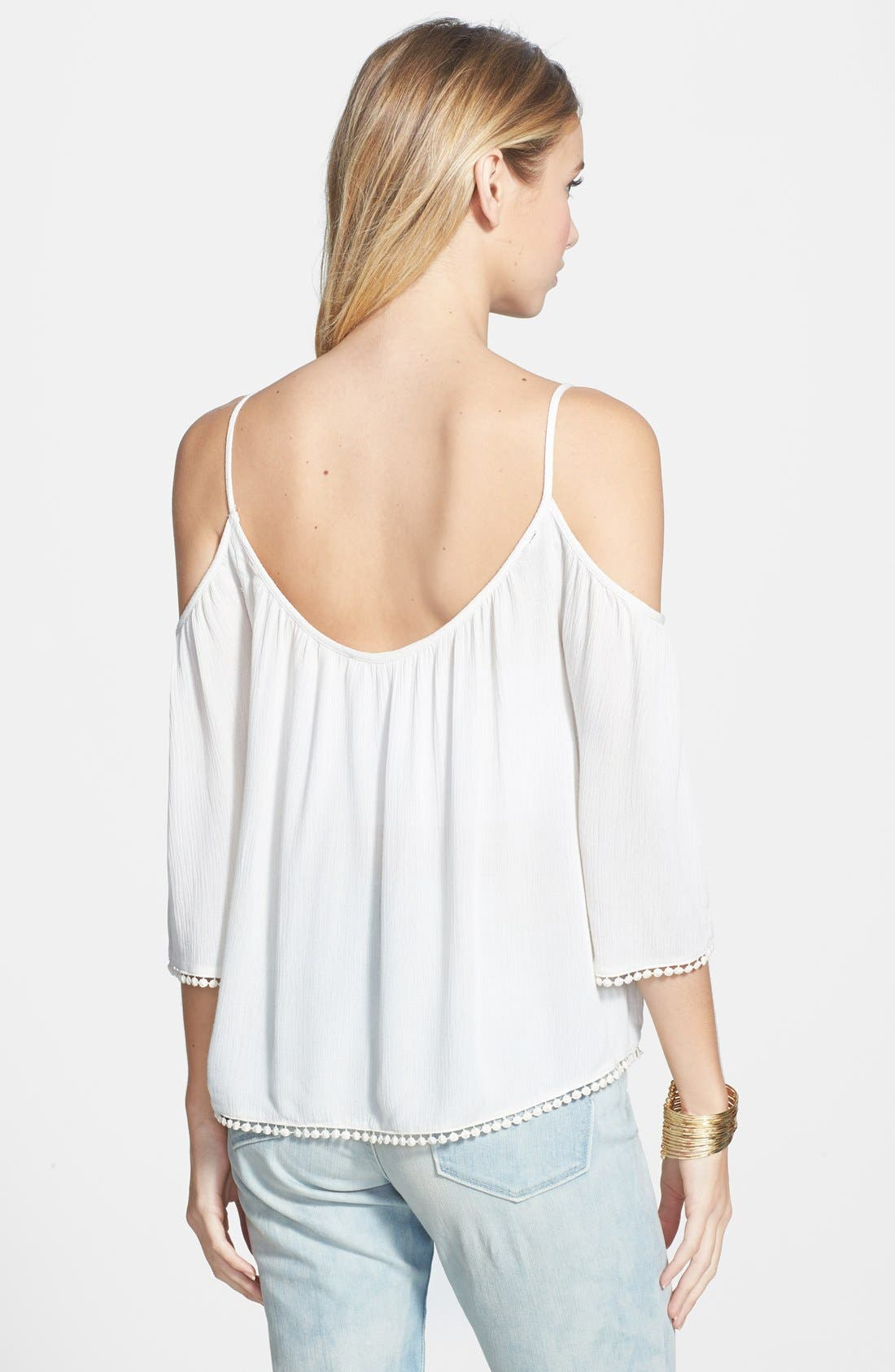 Alternate Image 2  - Lush Pom Trim Cold Shoulder Top
