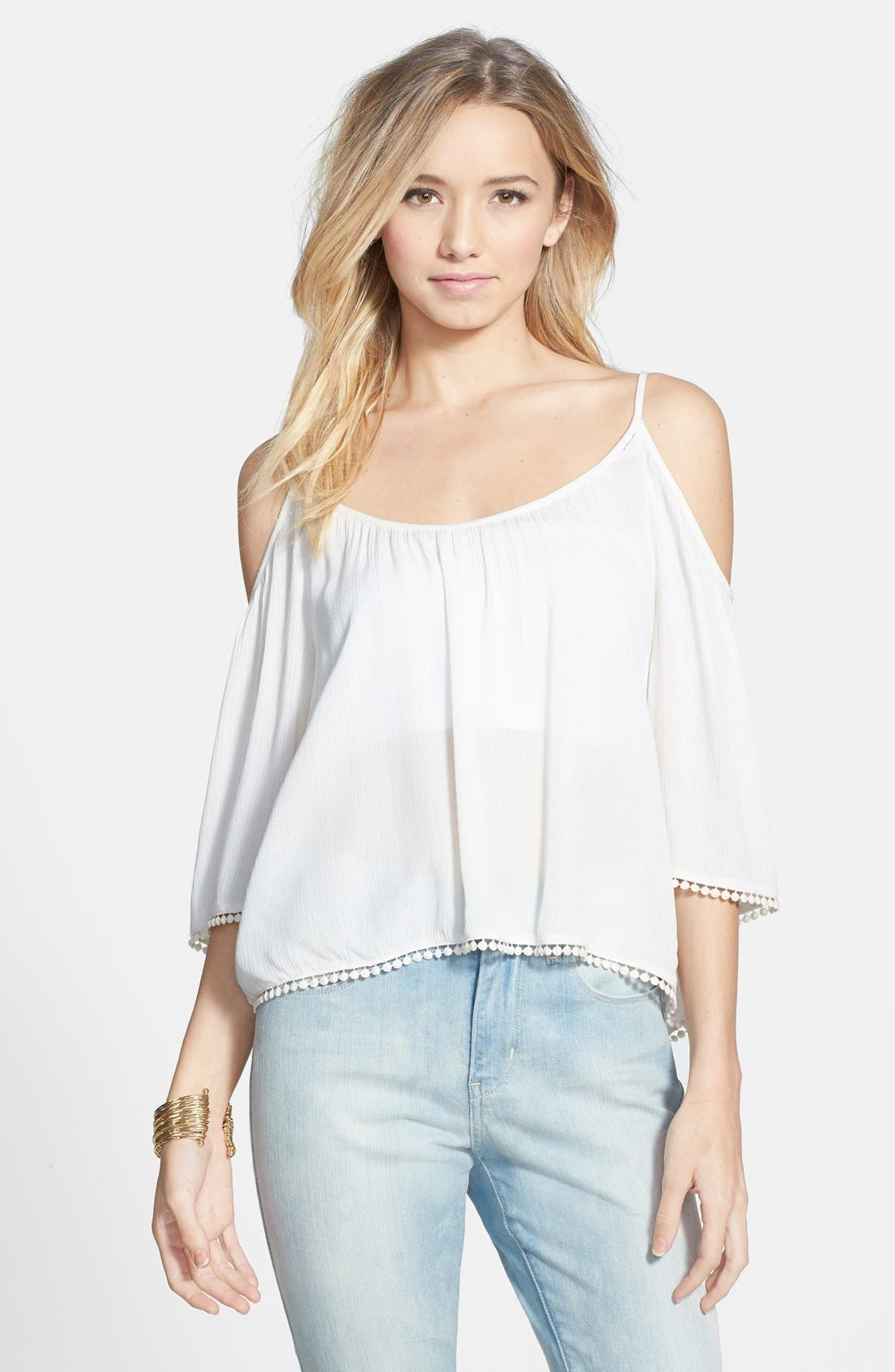 Alternate Image 1 Selected - Lush Pom Trim Cold Shoulder Top