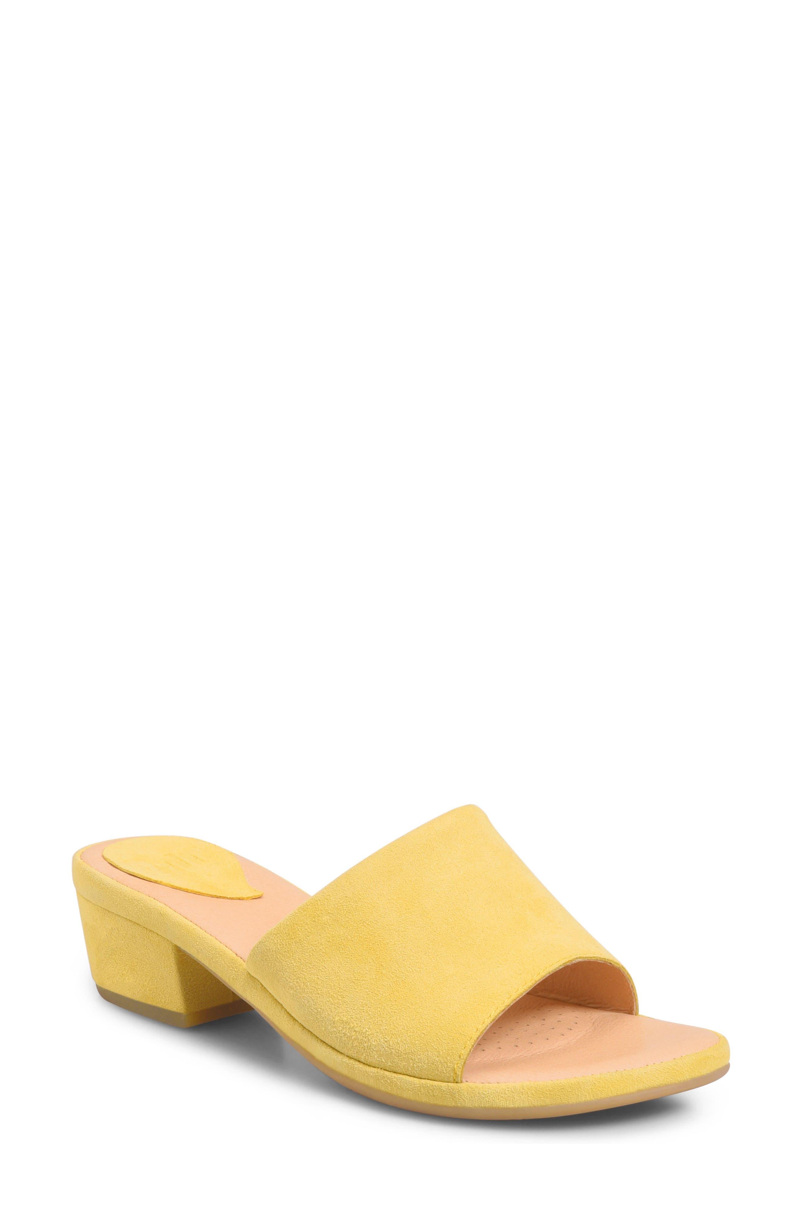 Bo Block Heel Slide Sandal,                             Main thumbnail 1, color,                             Yellow Suede