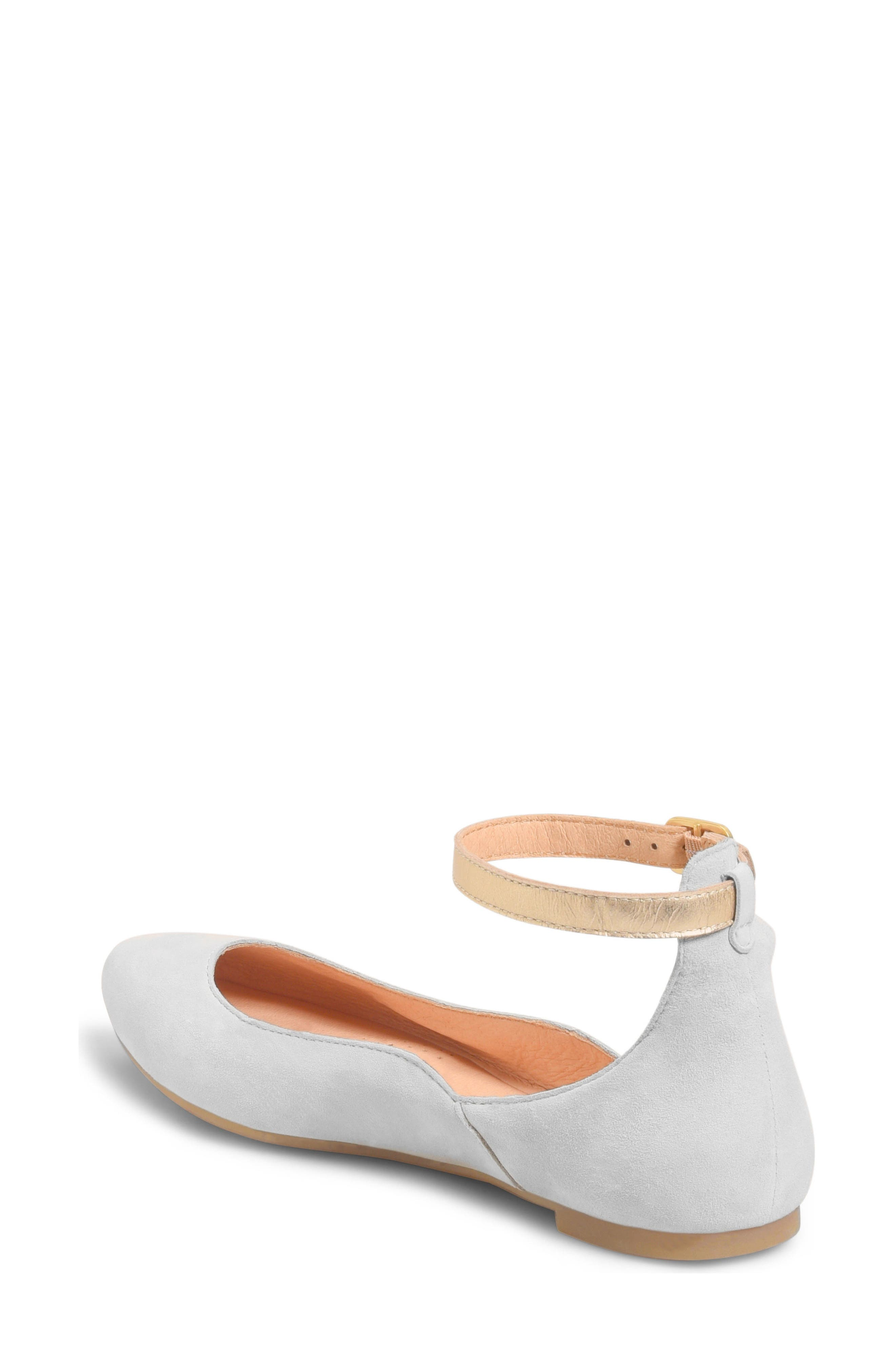Luchia Ankle Strap Flat,                             Alternate thumbnail 2, color,                             Light Grey/ Gold Leather