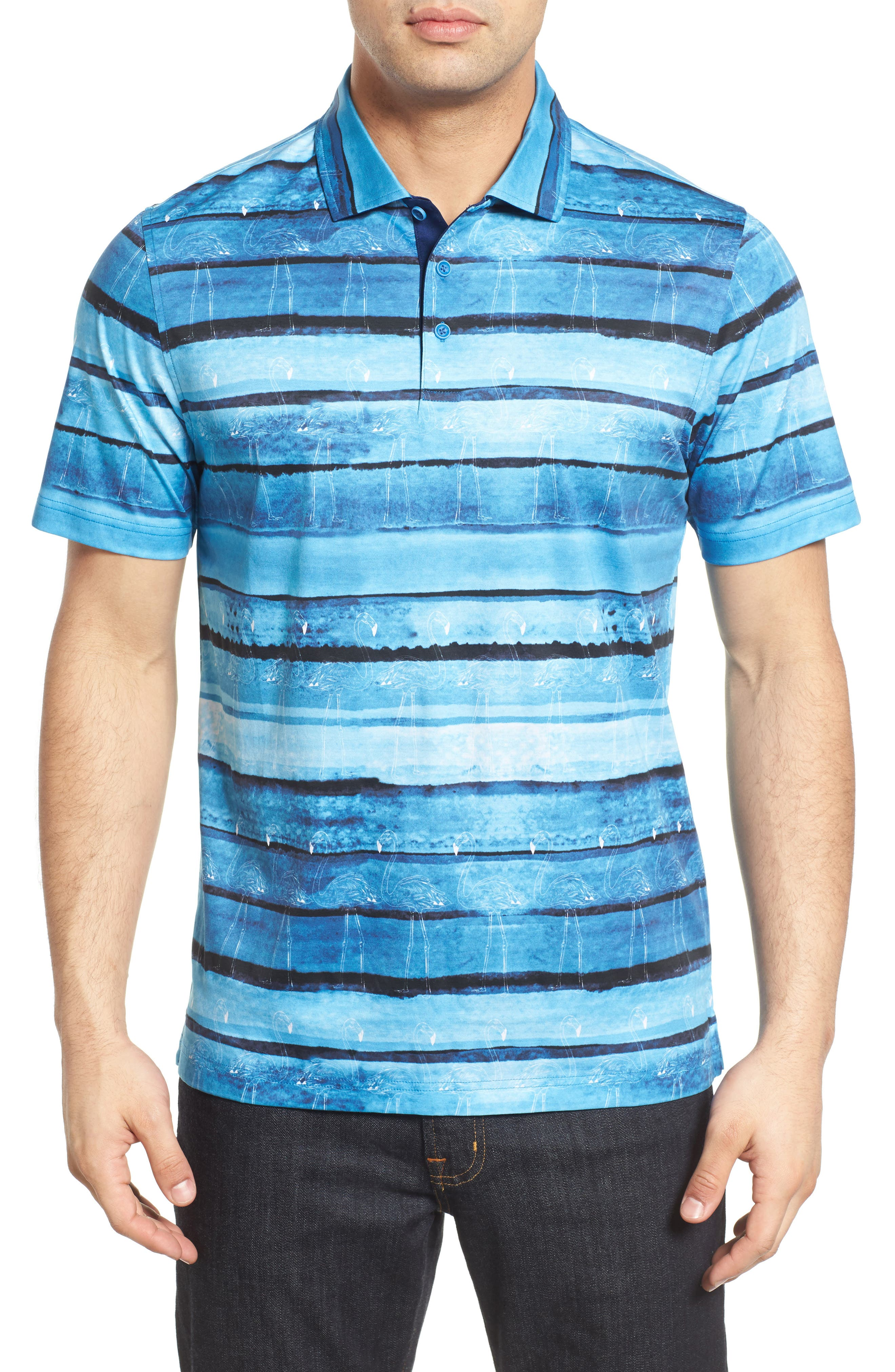 Print Jersey Polo,                         Main,                         color, Classic Blue