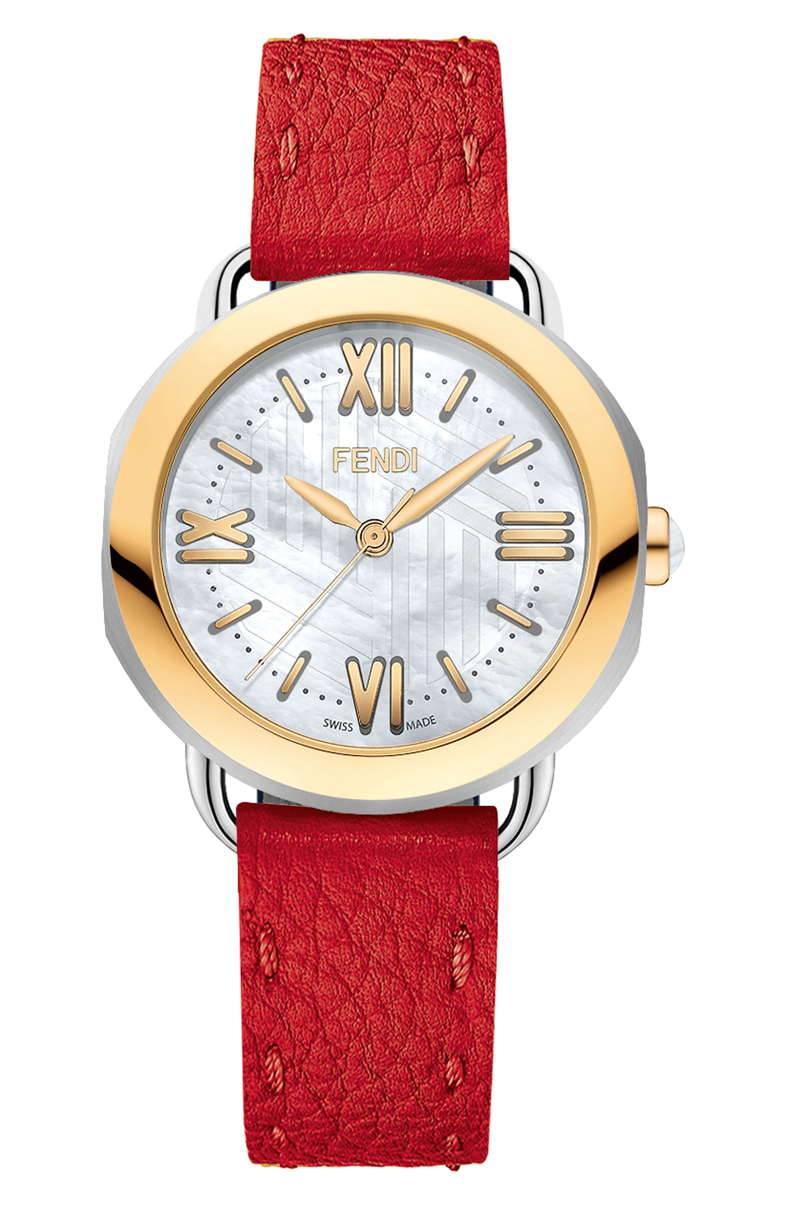 Alternate Image 1 Selected - Fendi Selleria Mother of Pearl Leather Strap Watch, 36mm