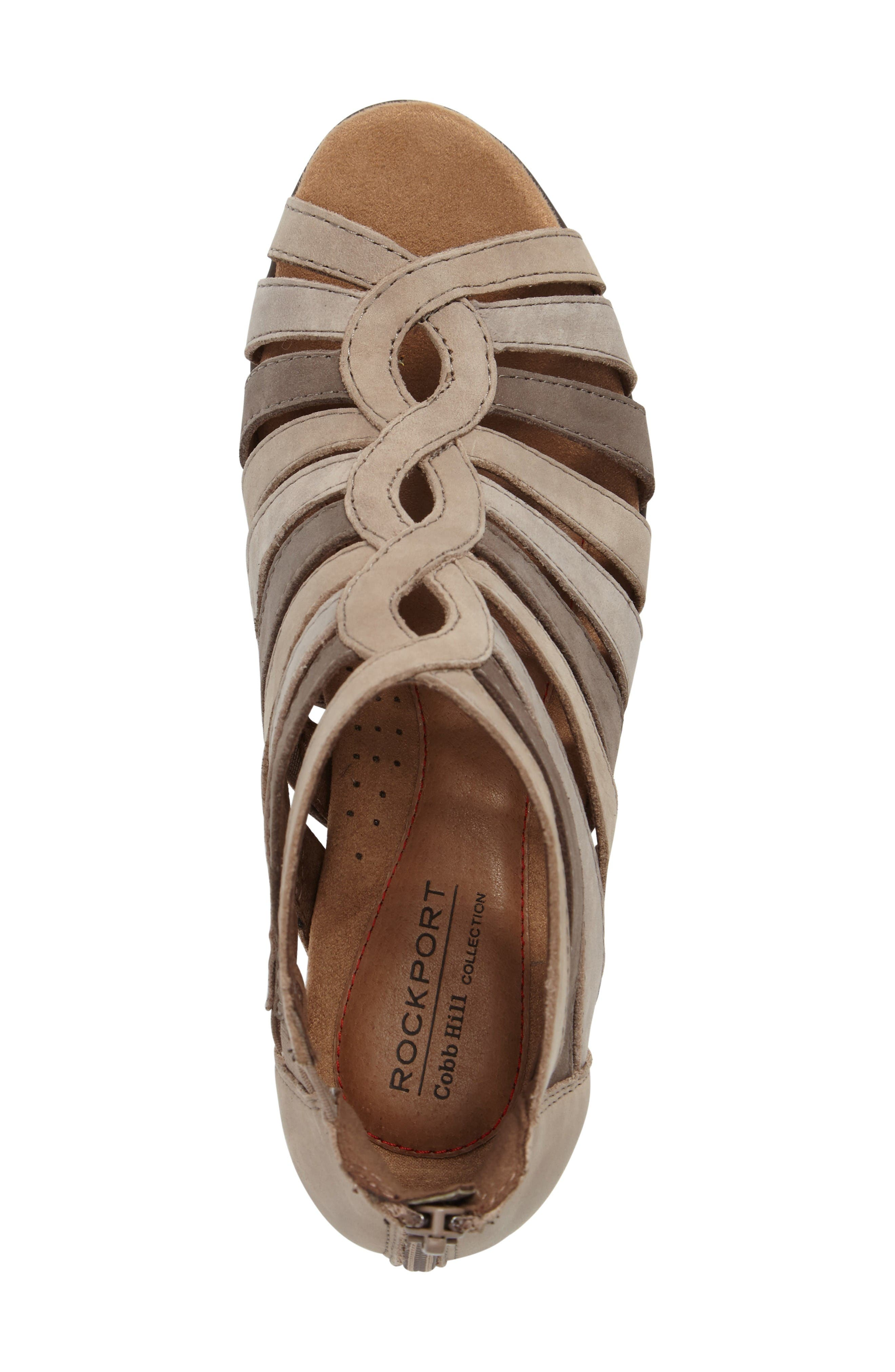 Abbott Caged Sandal,                             Alternate thumbnail 5, color,                             Light Khaki Multi Leather
