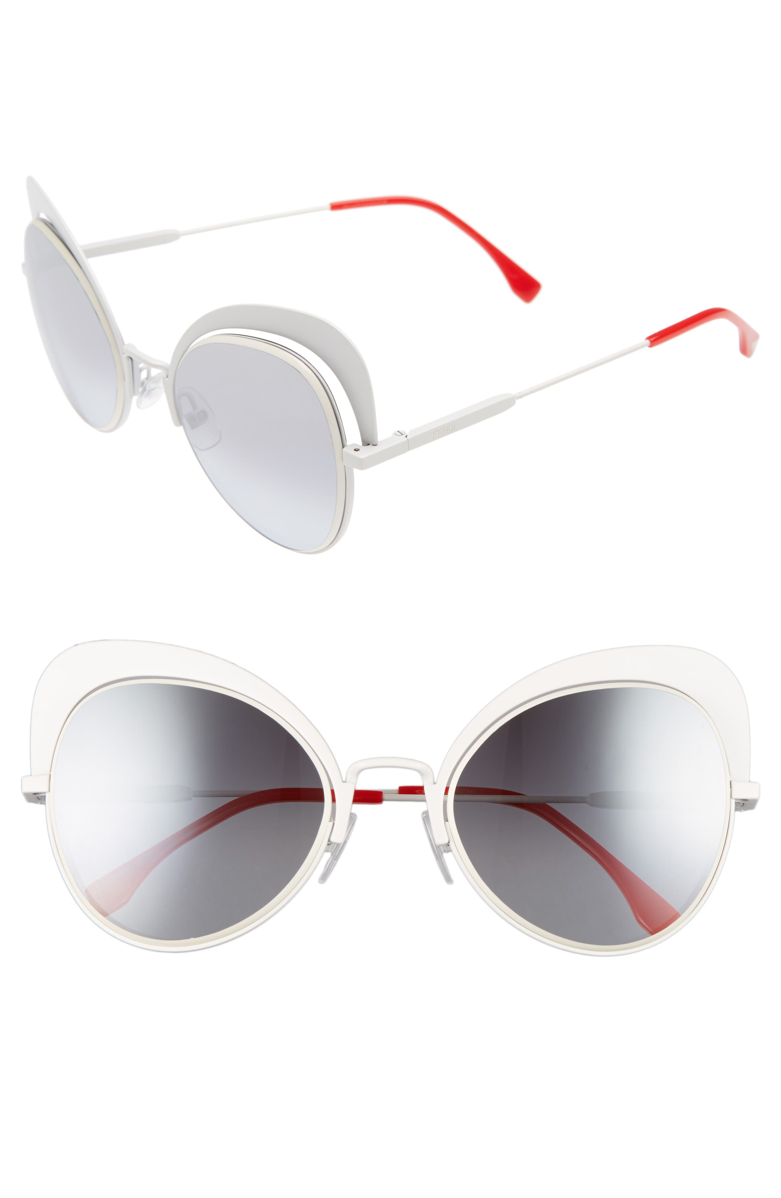 54mm Gradient Cat Eye Sunglasses,                         Main,                         color, White