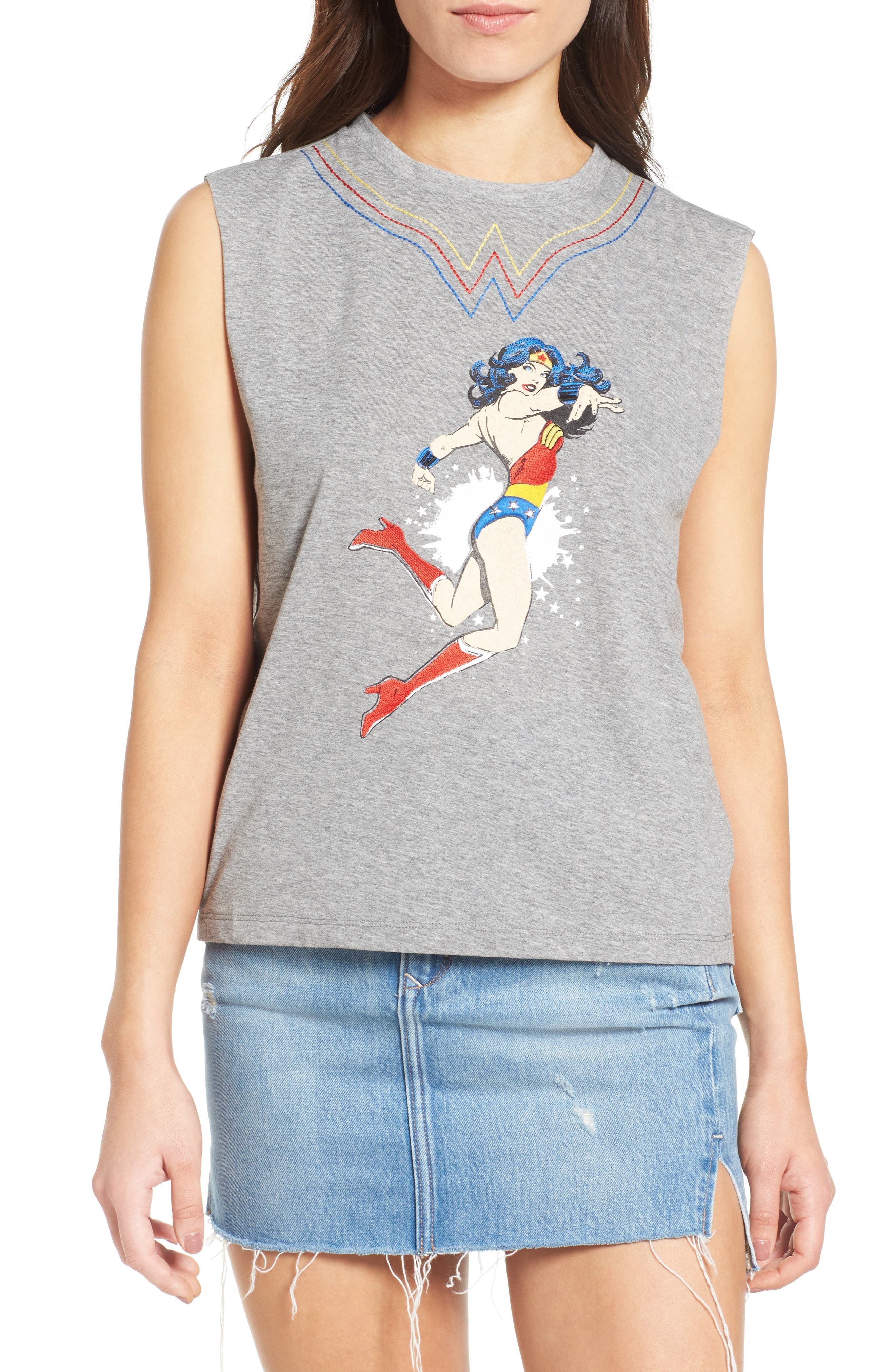 Wonder Woman Cotton Tank,                             Main thumbnail 1, color,                             Grey