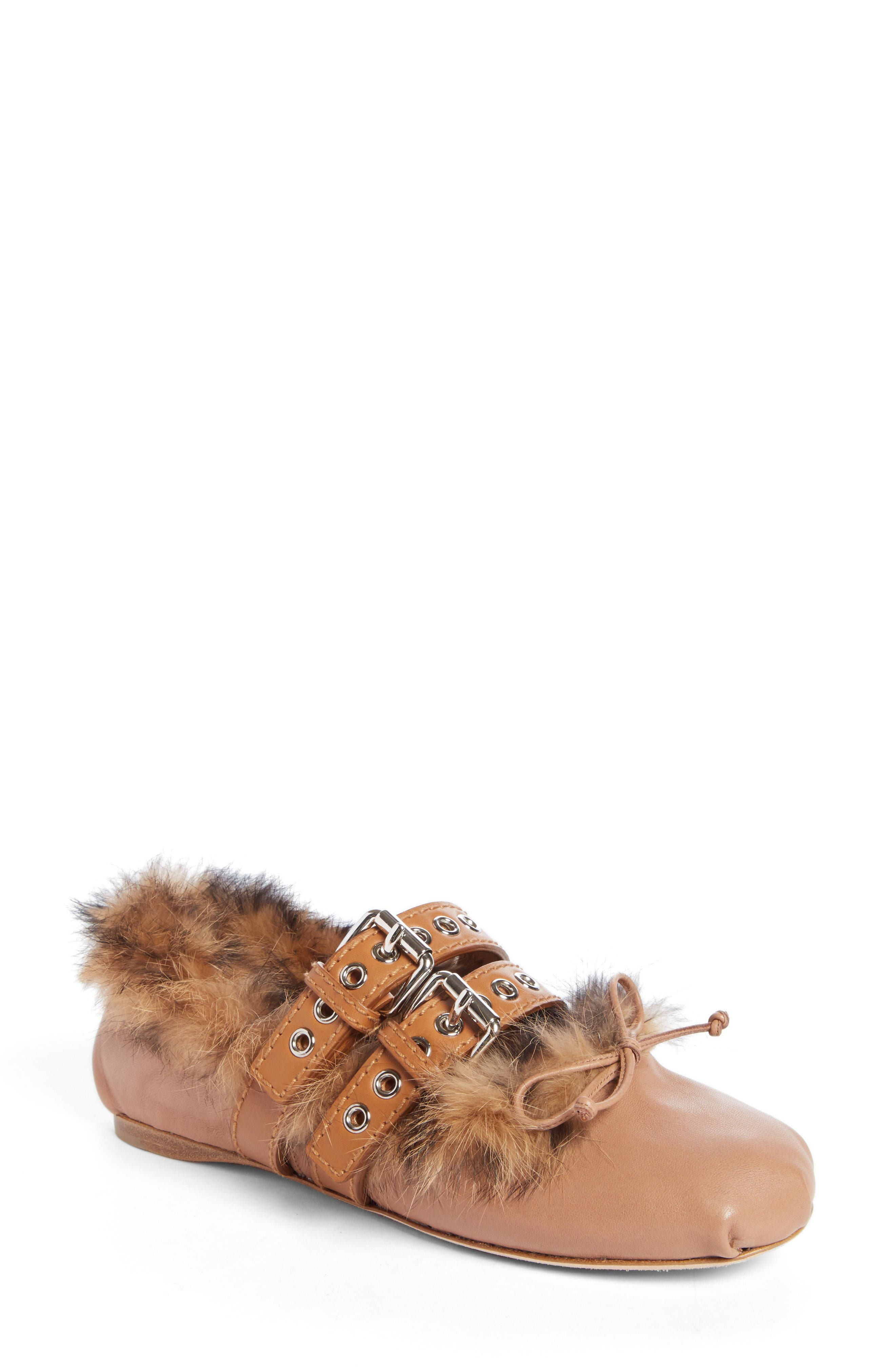 Mu Miu Genuine Rabbit Fur Double Buckle Flat (Women)