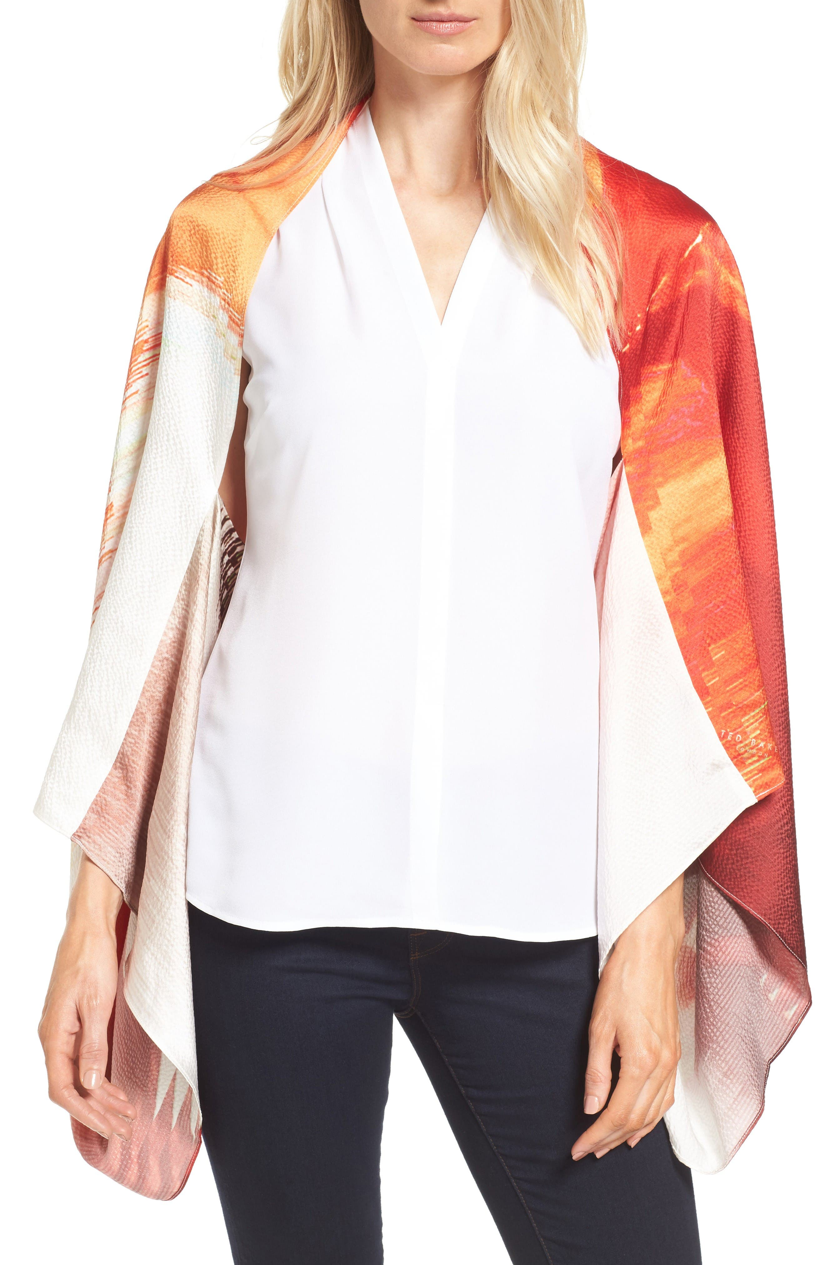 Pamm Playful Poppy Silk Cape Scarf,                         Main,                         color, Mid Red