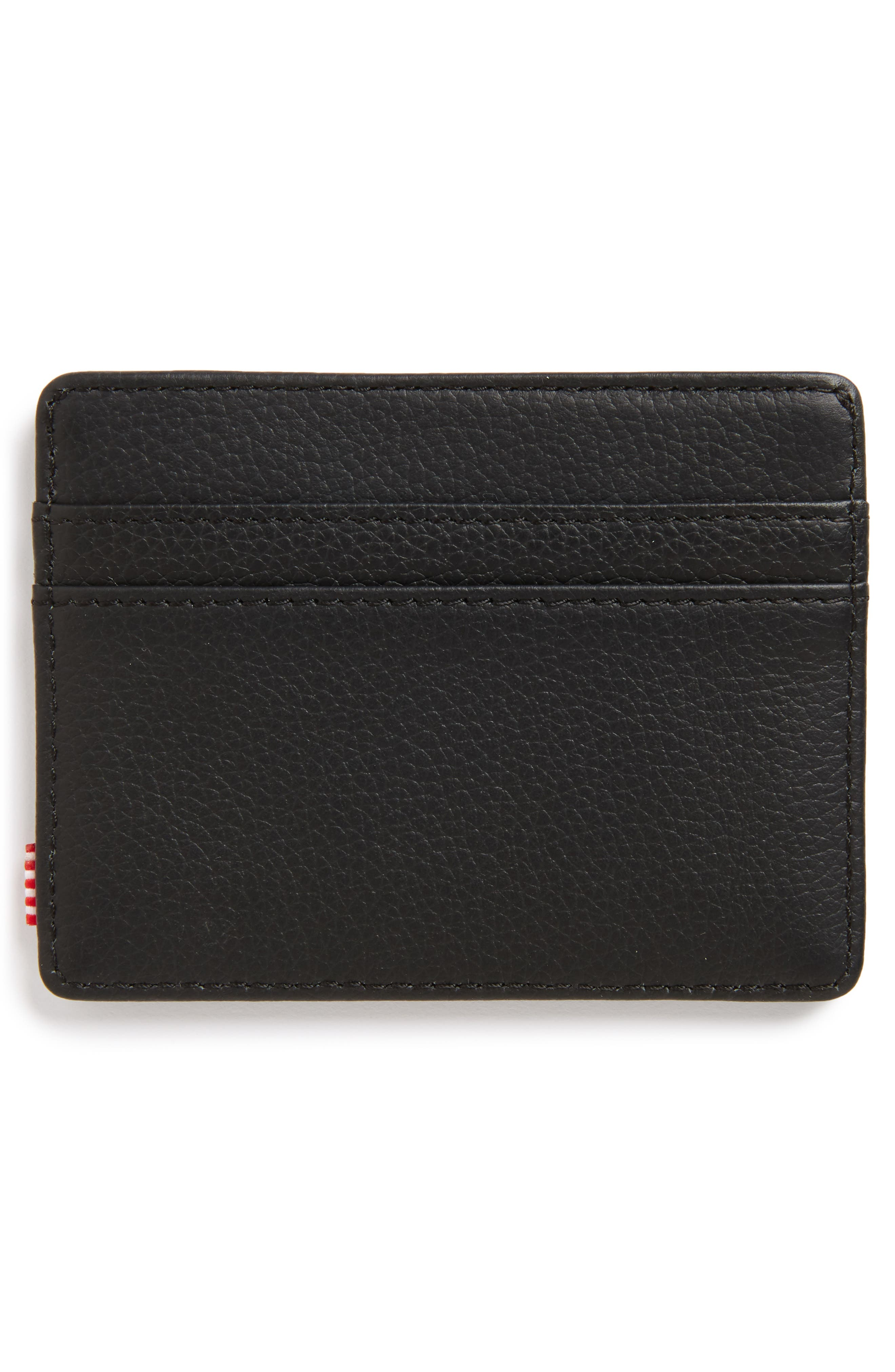 Charlie Leather Card Case,                             Alternate thumbnail 2, color,                             Black Leather