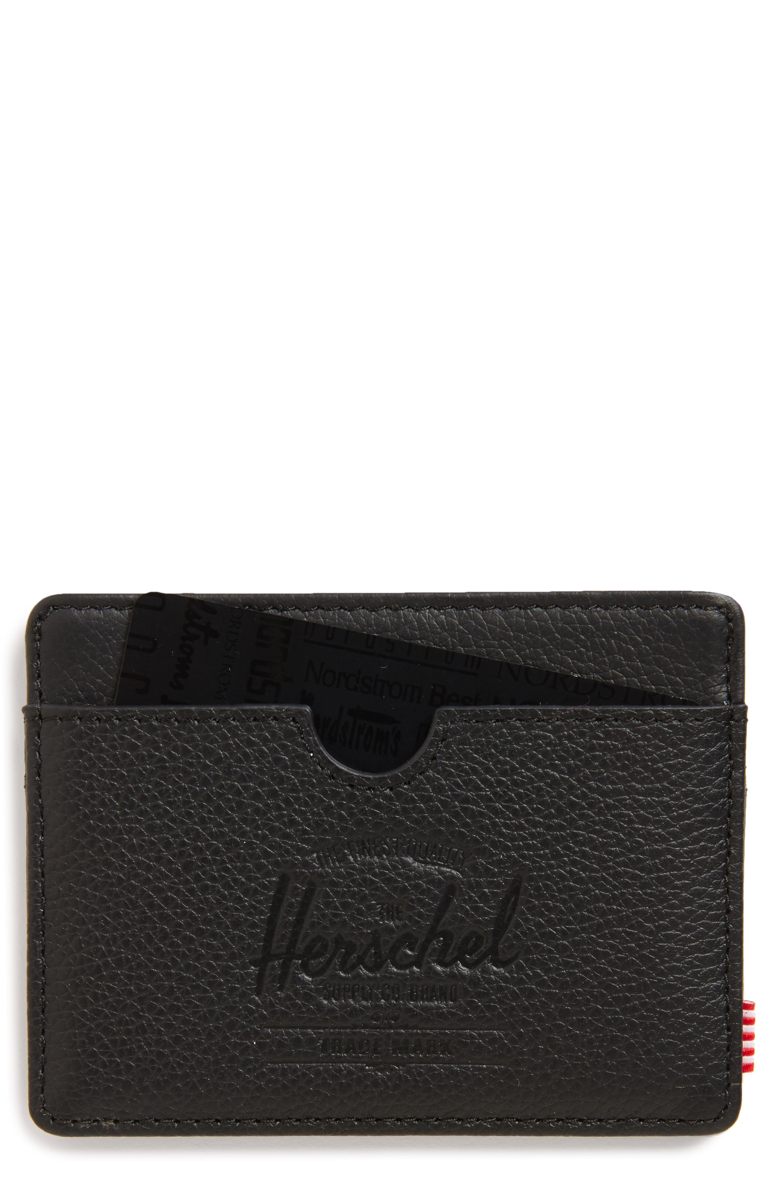 Charlie Leather Card Case,                         Main,                         color, Black Leather