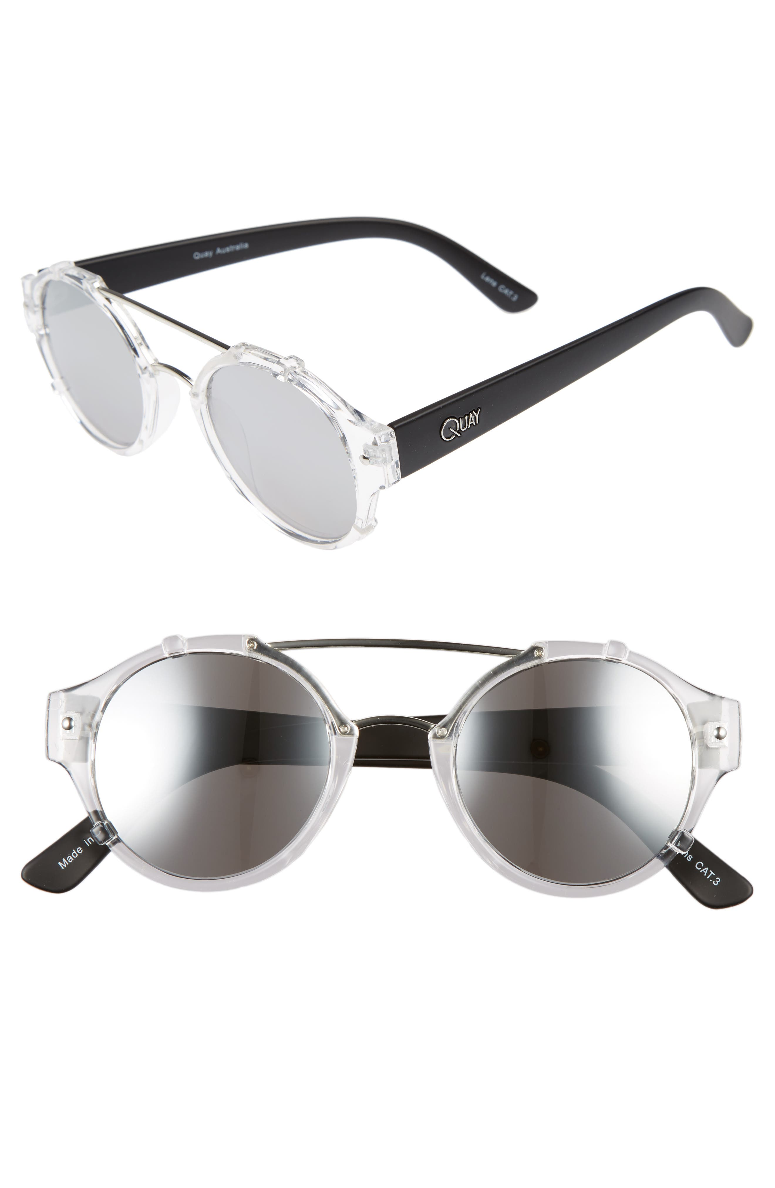 It's a Sin 49mm Mirrored Round Sunglasses,                         Main,                         color, Clear/ Black Smoke