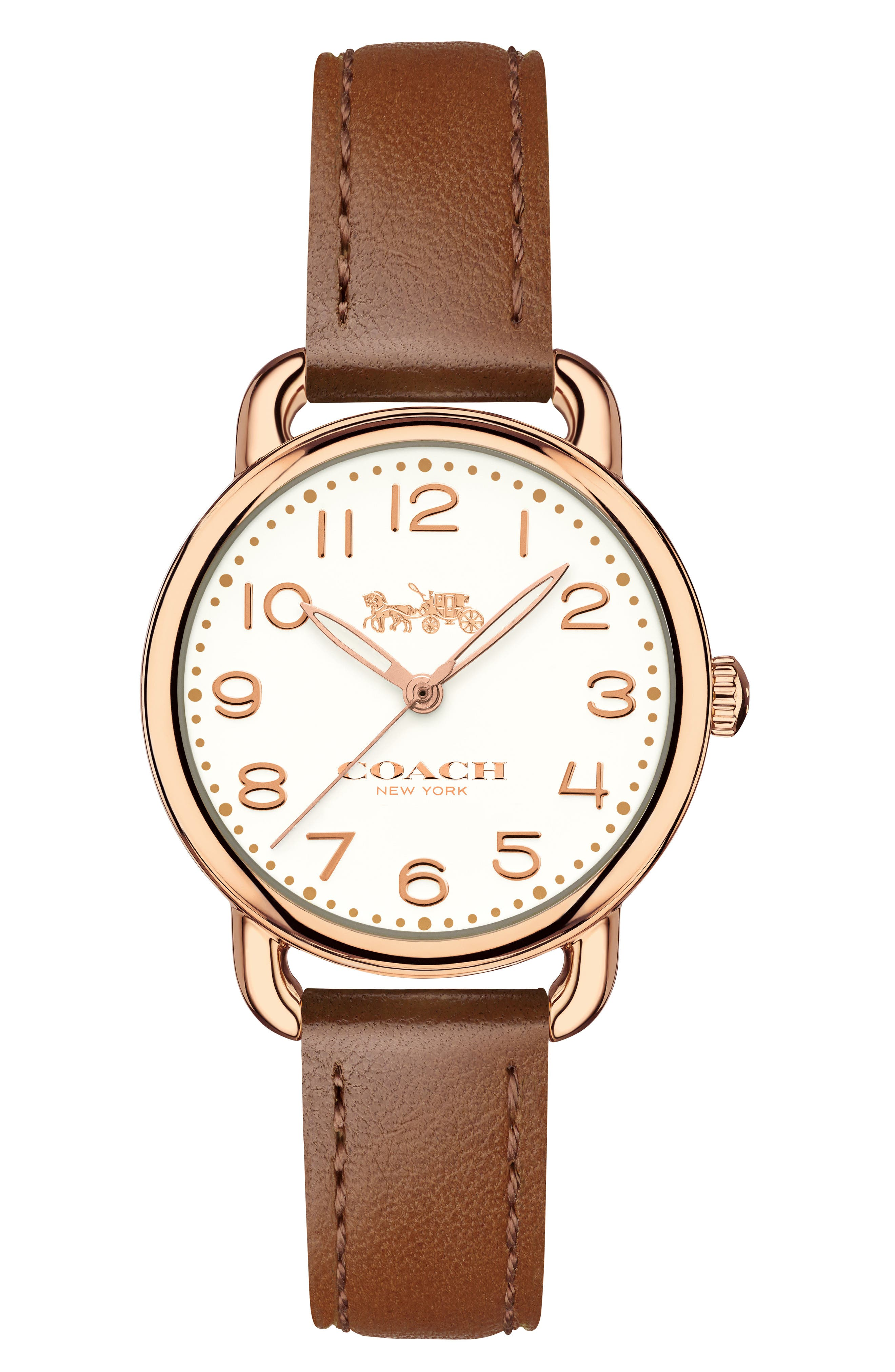 Delancey Leather Strap Watch, 28mm,                             Main thumbnail 1, color,                             Brown/ Chalk/ Rose Gold