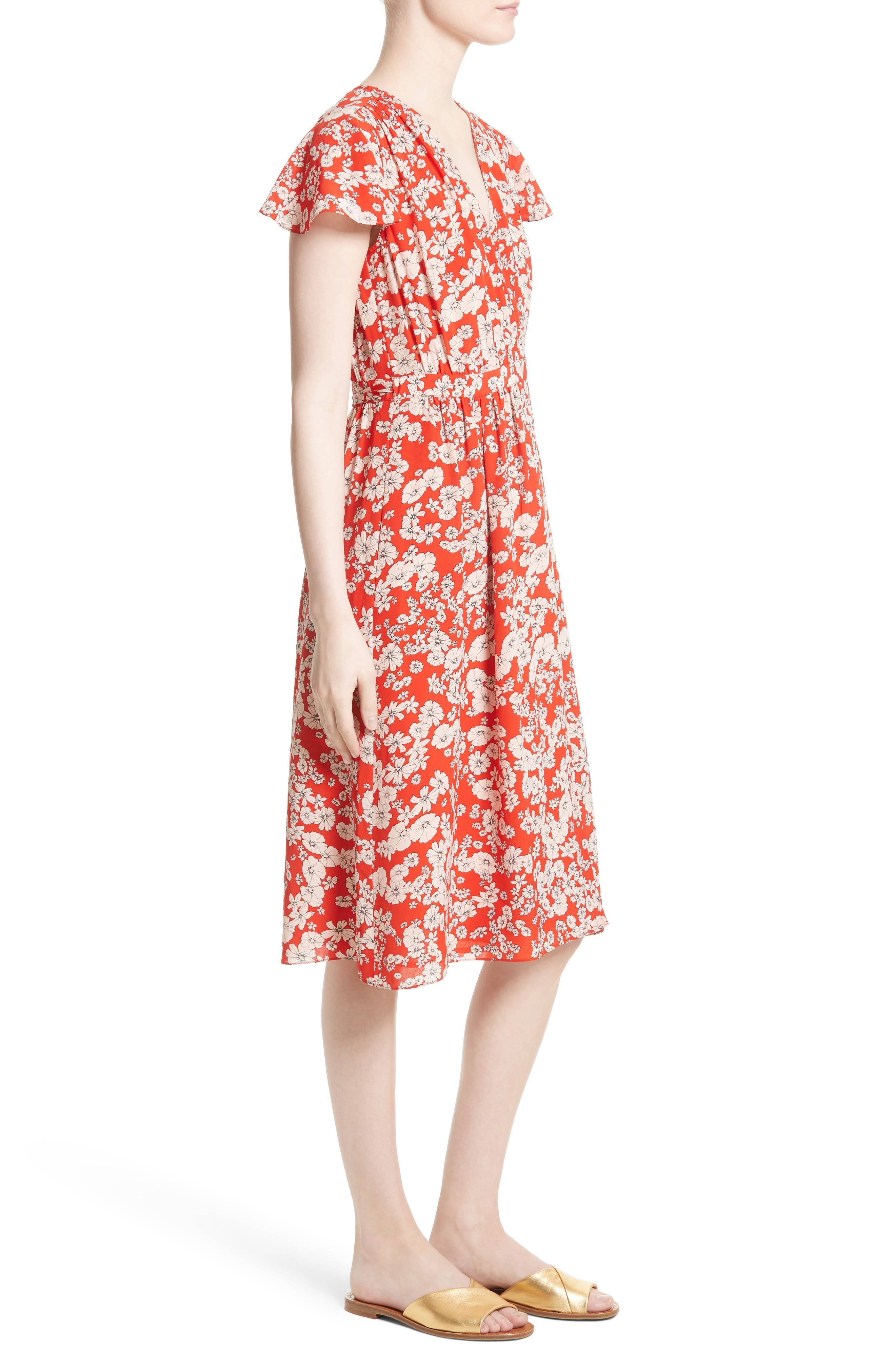 Cherry Blossom Silk Wrap Dress,                             Alternate thumbnail 3, color,                             Candy Apple Combo
