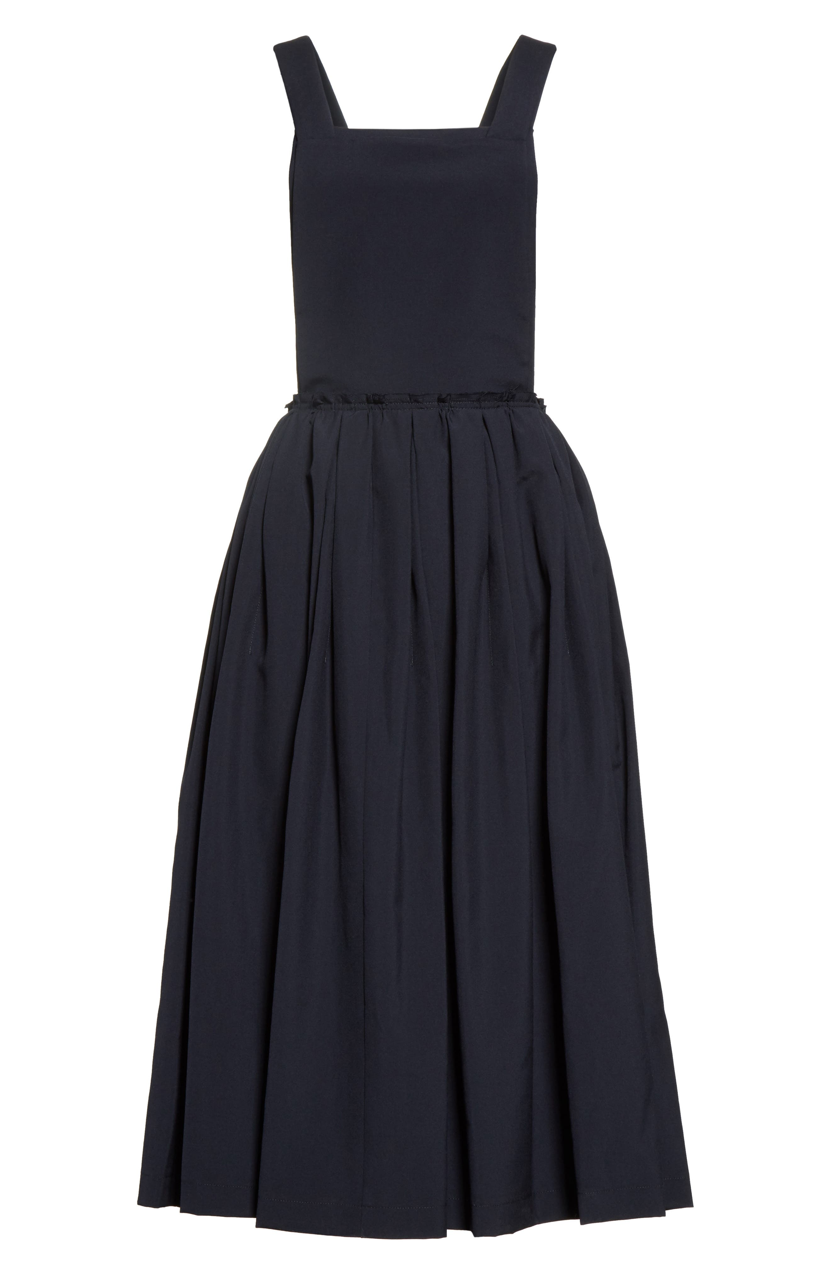 Tropical Wool Overall Dress,                             Alternate thumbnail 4, color,                             Navy