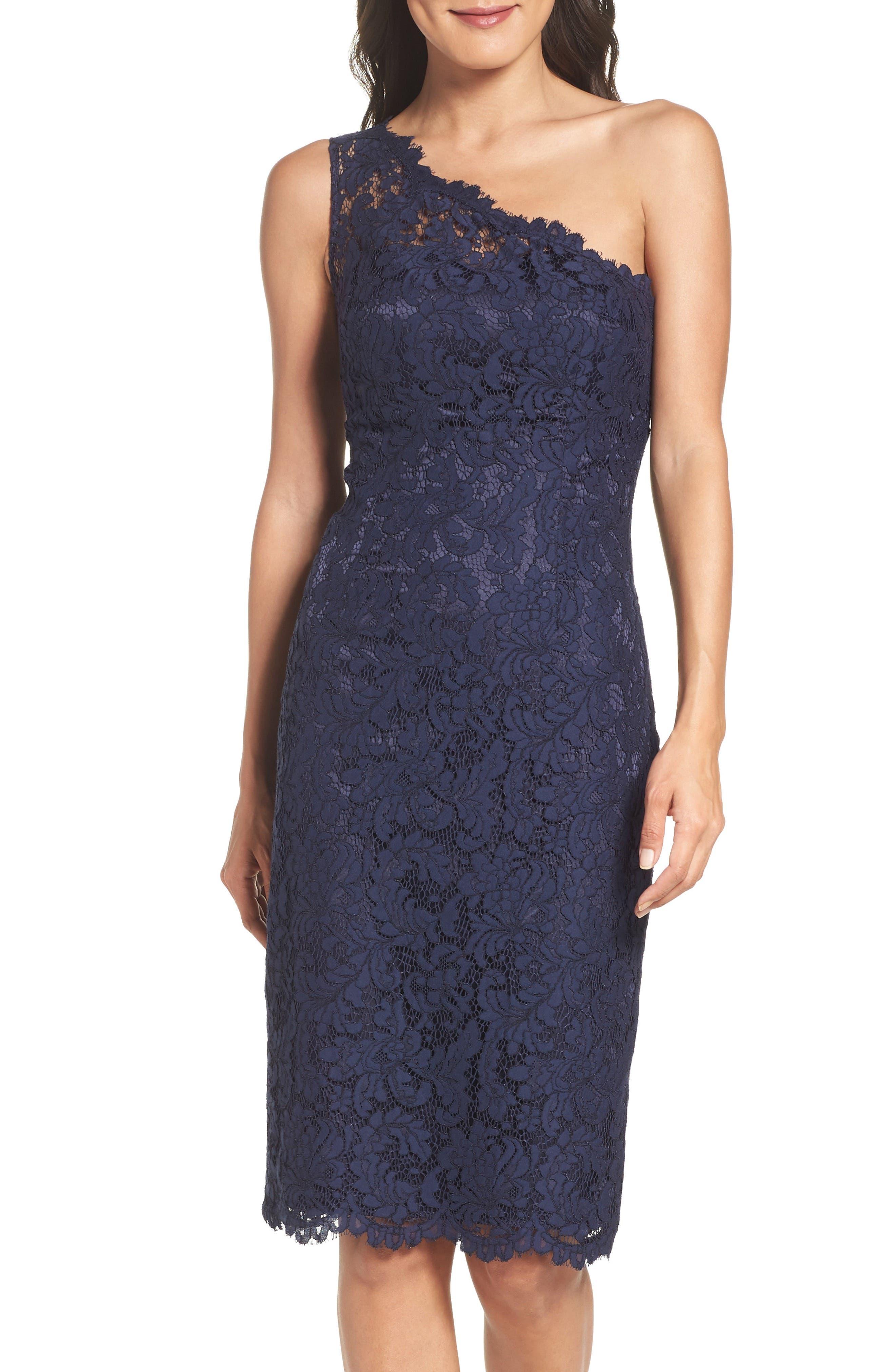 One-Shoulder Lace Dress,                             Alternate thumbnail 4, color,                             Navy