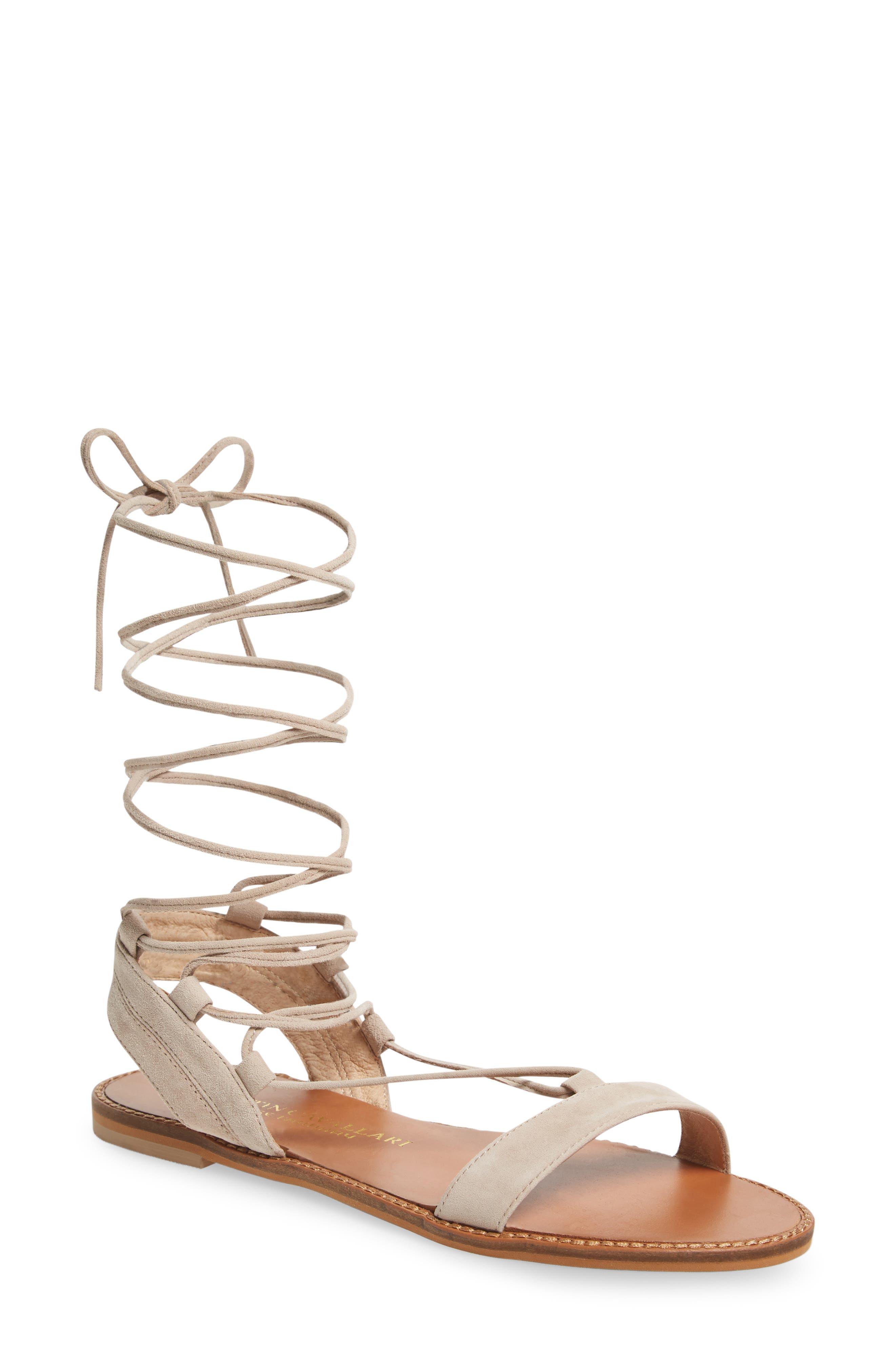 Brea Ankle Wrap Sandal,                         Main,                         color, Mushroom