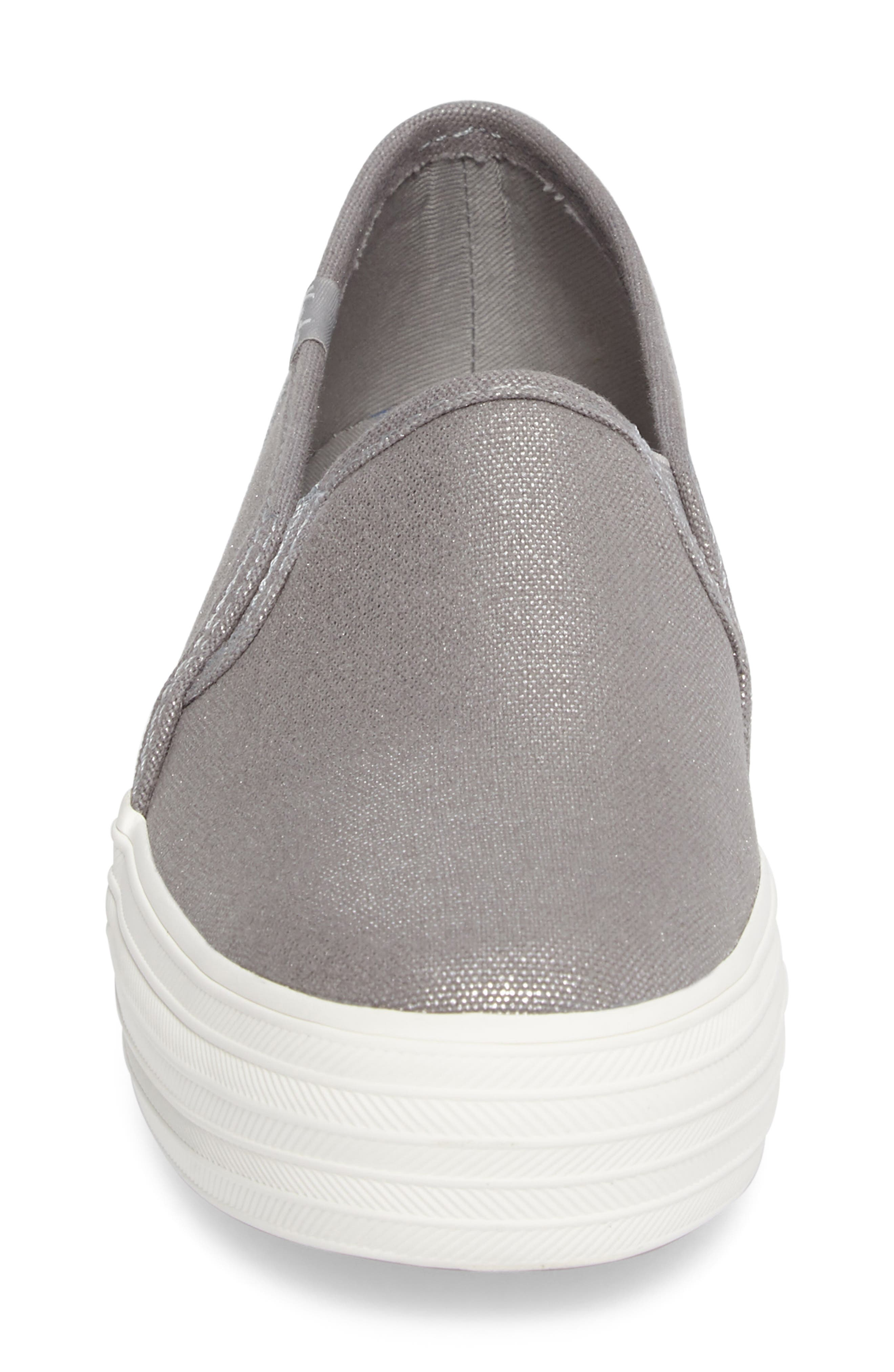 Triple Decker Slip-On Platform Sneaker,                             Alternate thumbnail 4, color,                             Silver